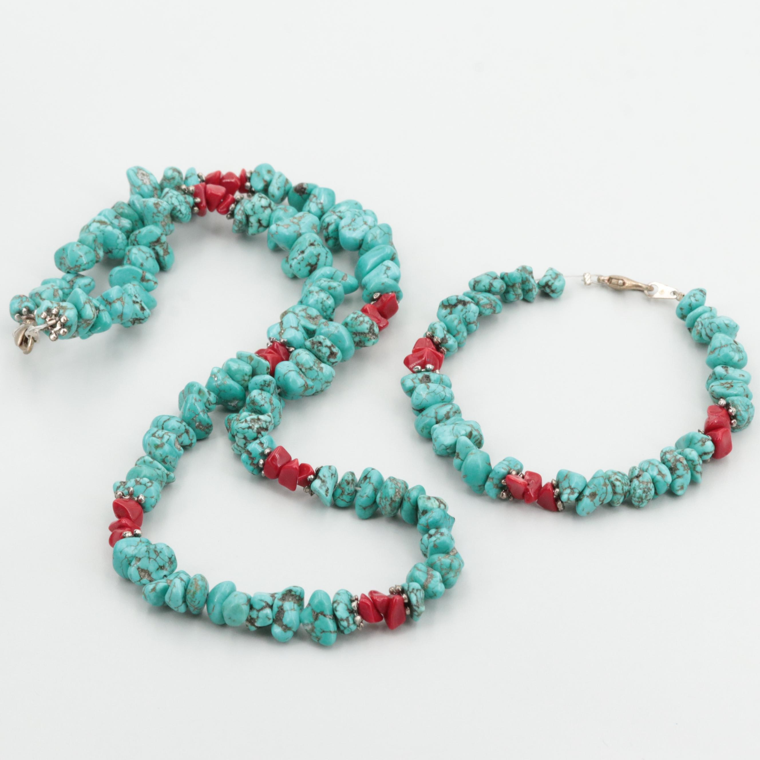 Southwestern Silver Tone Magnesite and Glass Nugget Necklace and Bracelet Set