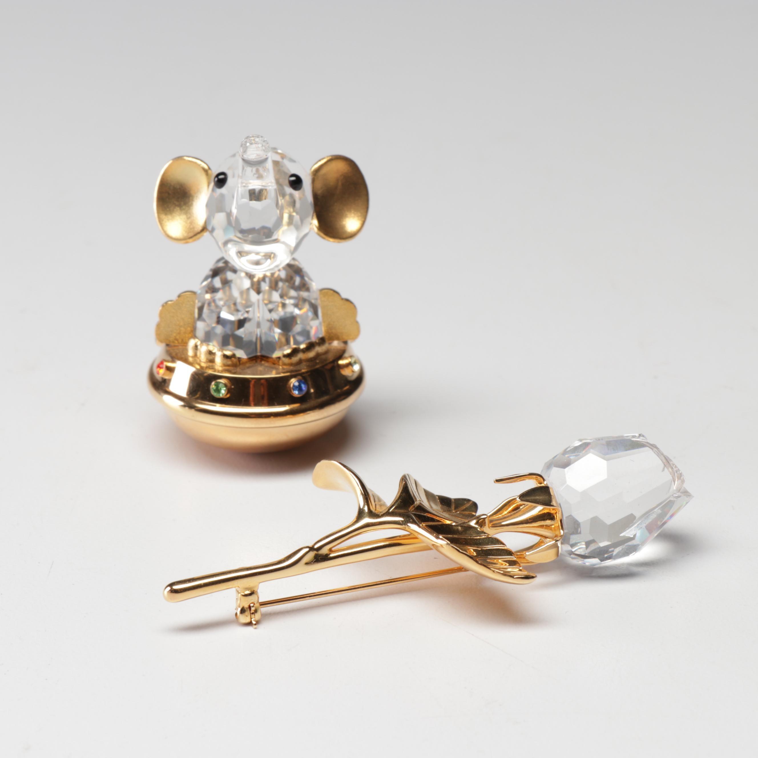 Swarovski Crystal Elephant Figurine and Rose Brooch