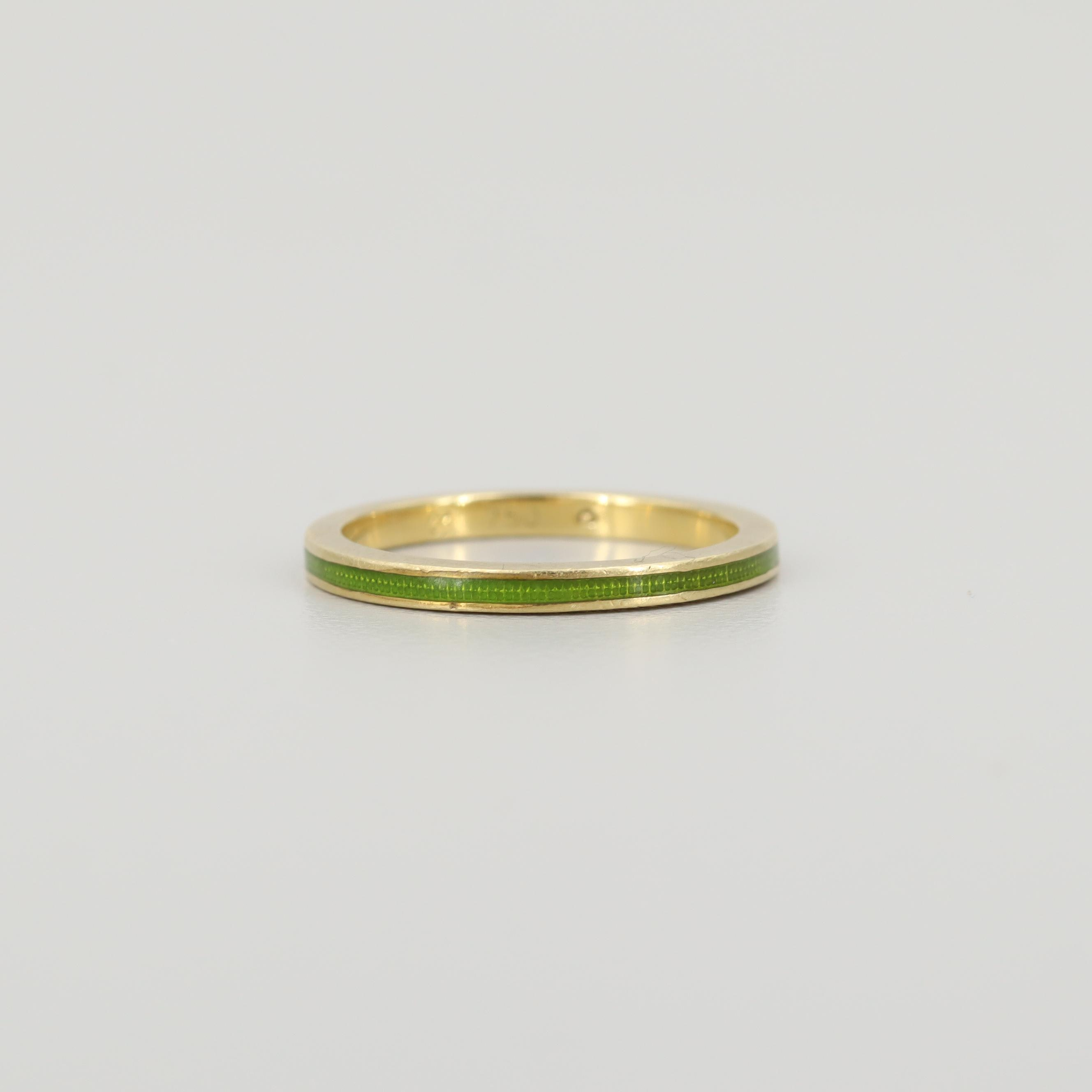18K Yellow Gold Enameled Band