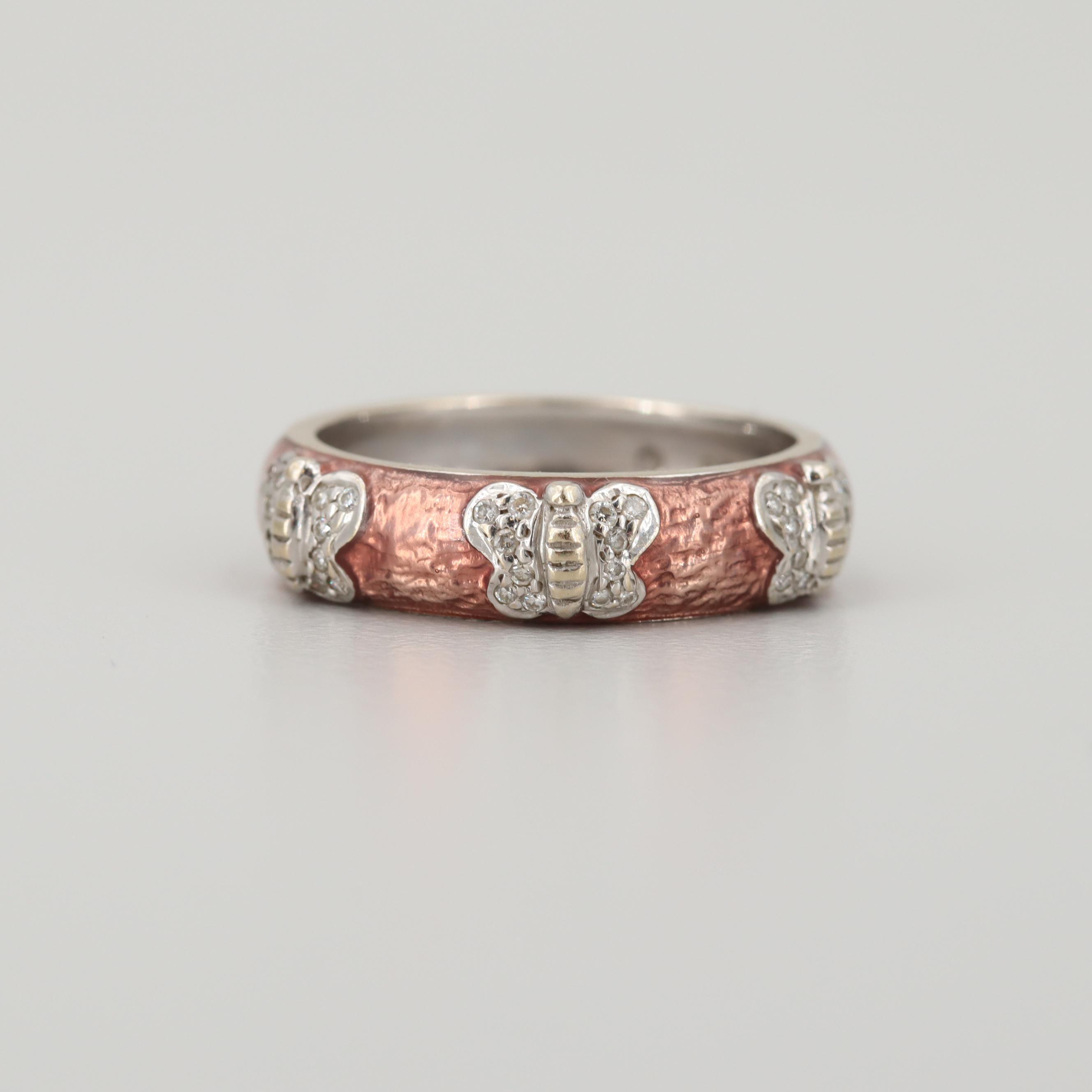 Hidalgo 18K White Gold Enamel Butterfly Ring