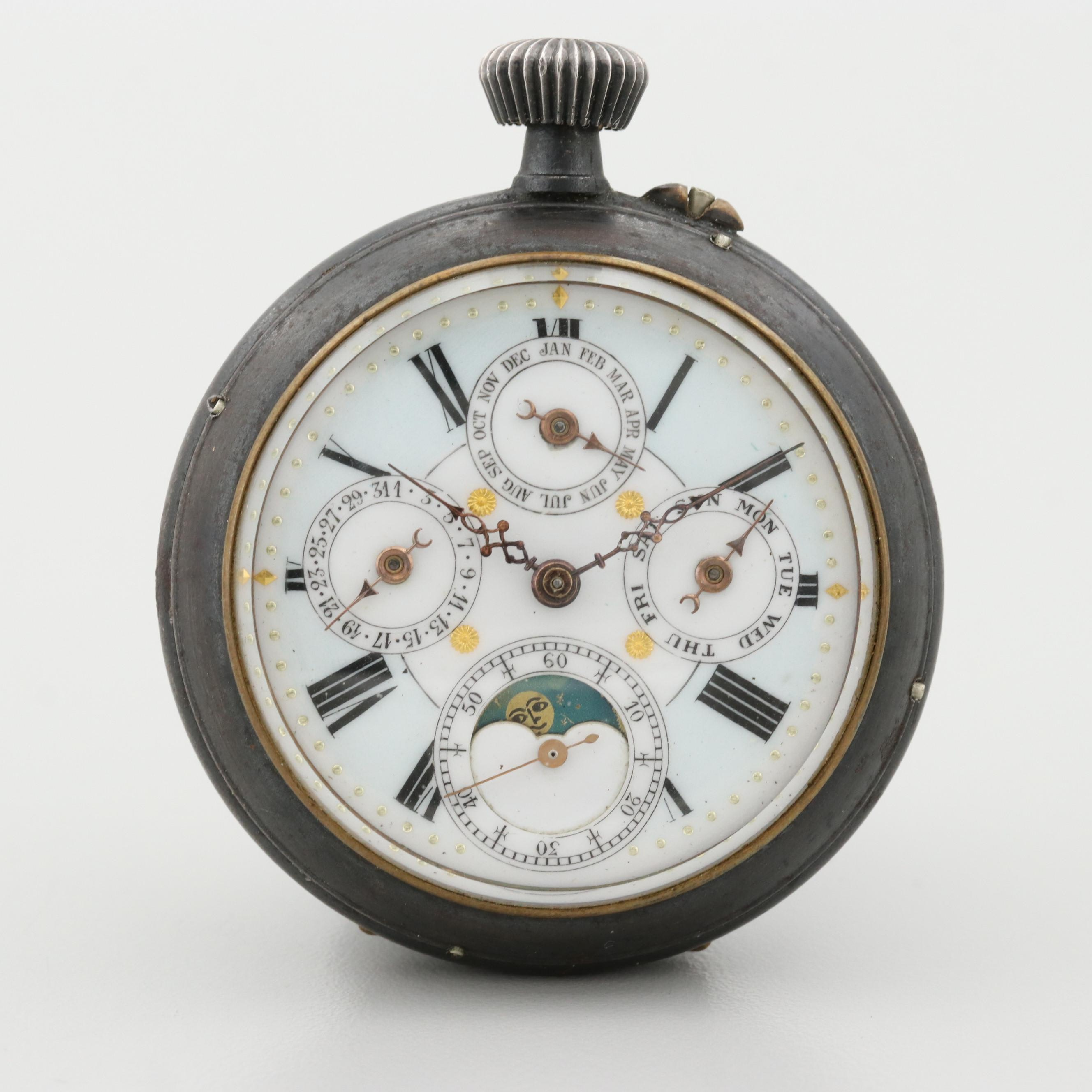 Vintage Swiss Triple Date Pocket Watch With Moon Phase Indicator