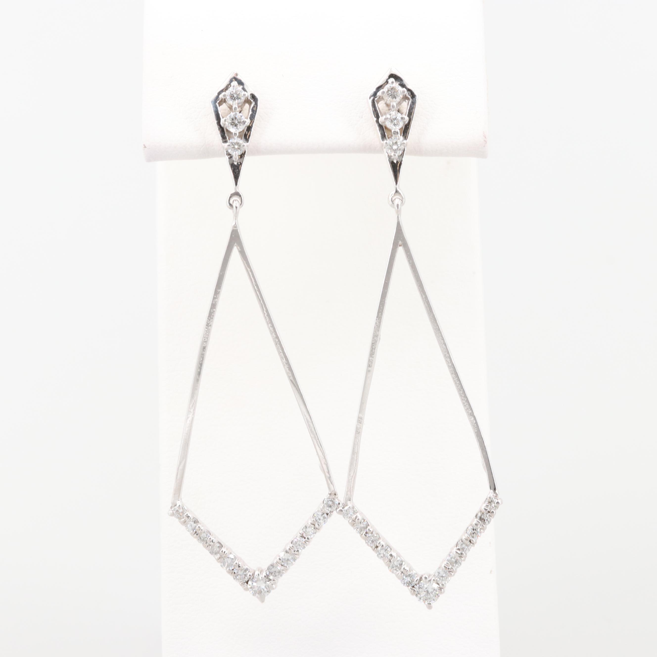 14K White Gold 1.00 CTW Diamond Dangle Earrings