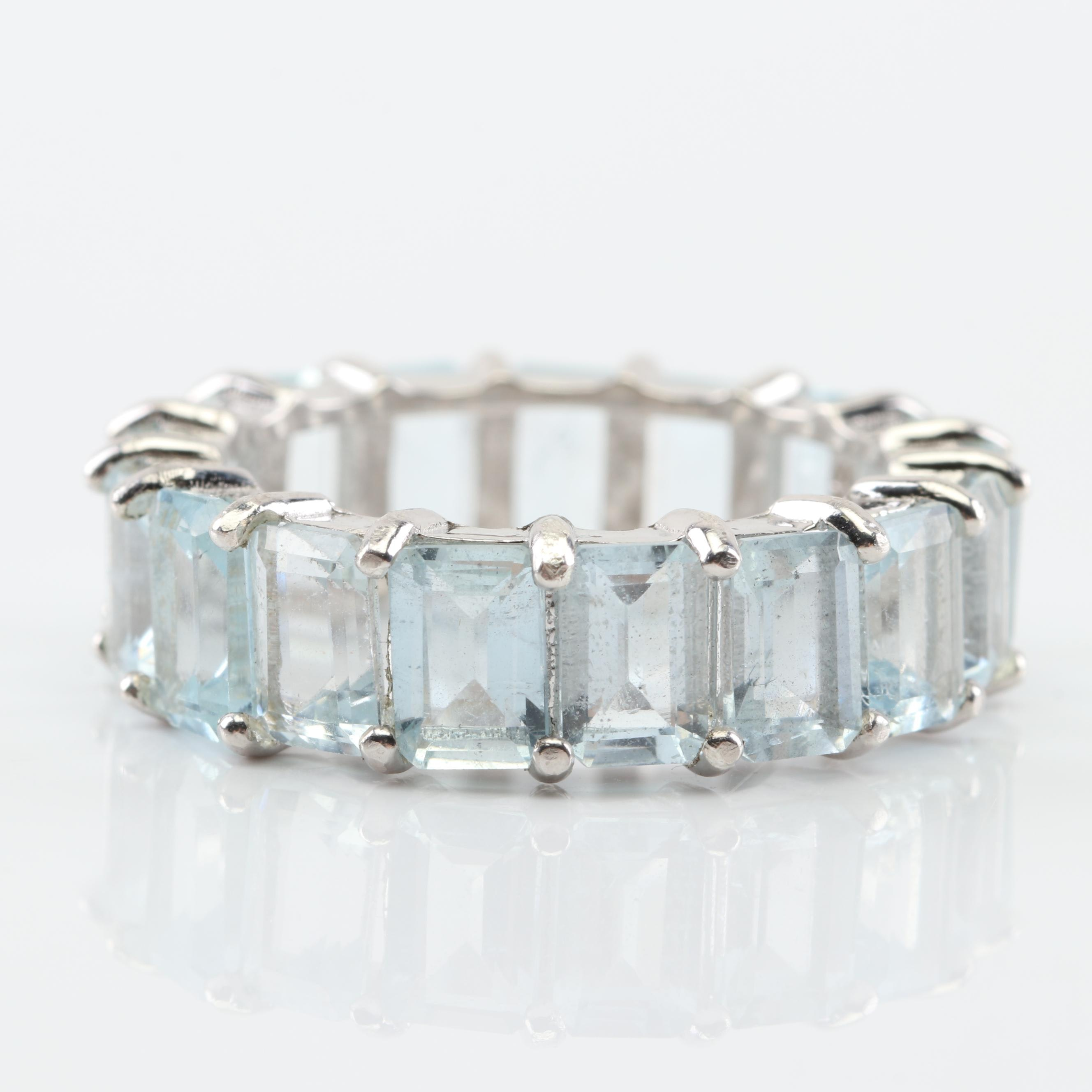 Sterling Silver Aquamarine Eternity Band