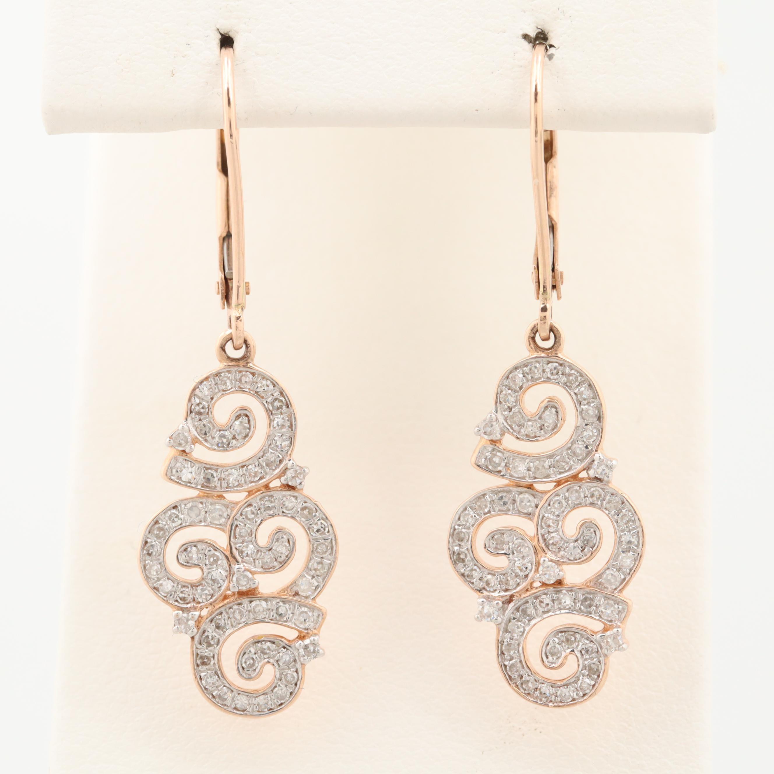 14K Rose Gold Diamond Dangle Earrings