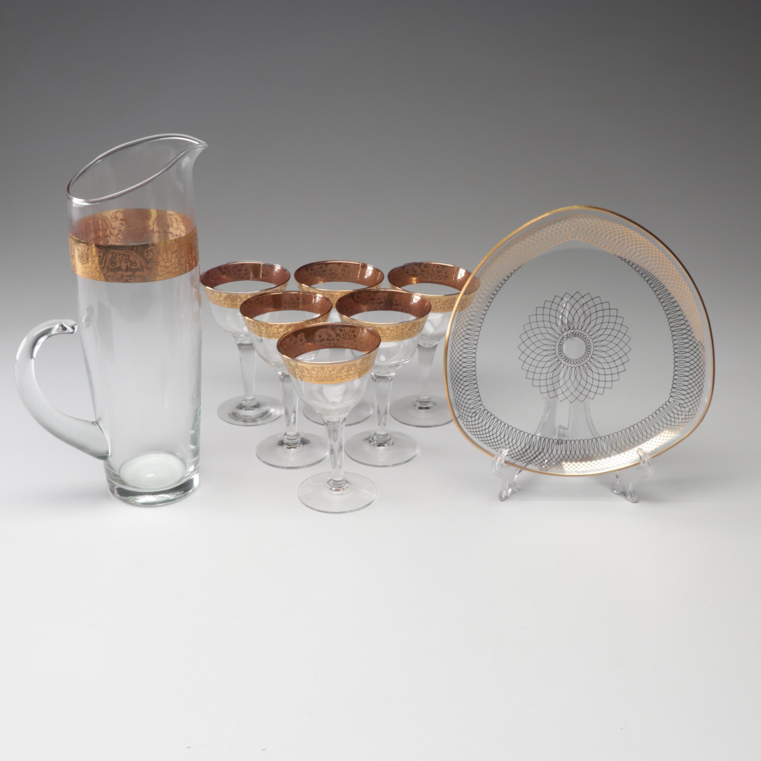 Mid-Century Gold Trim Glass Barware