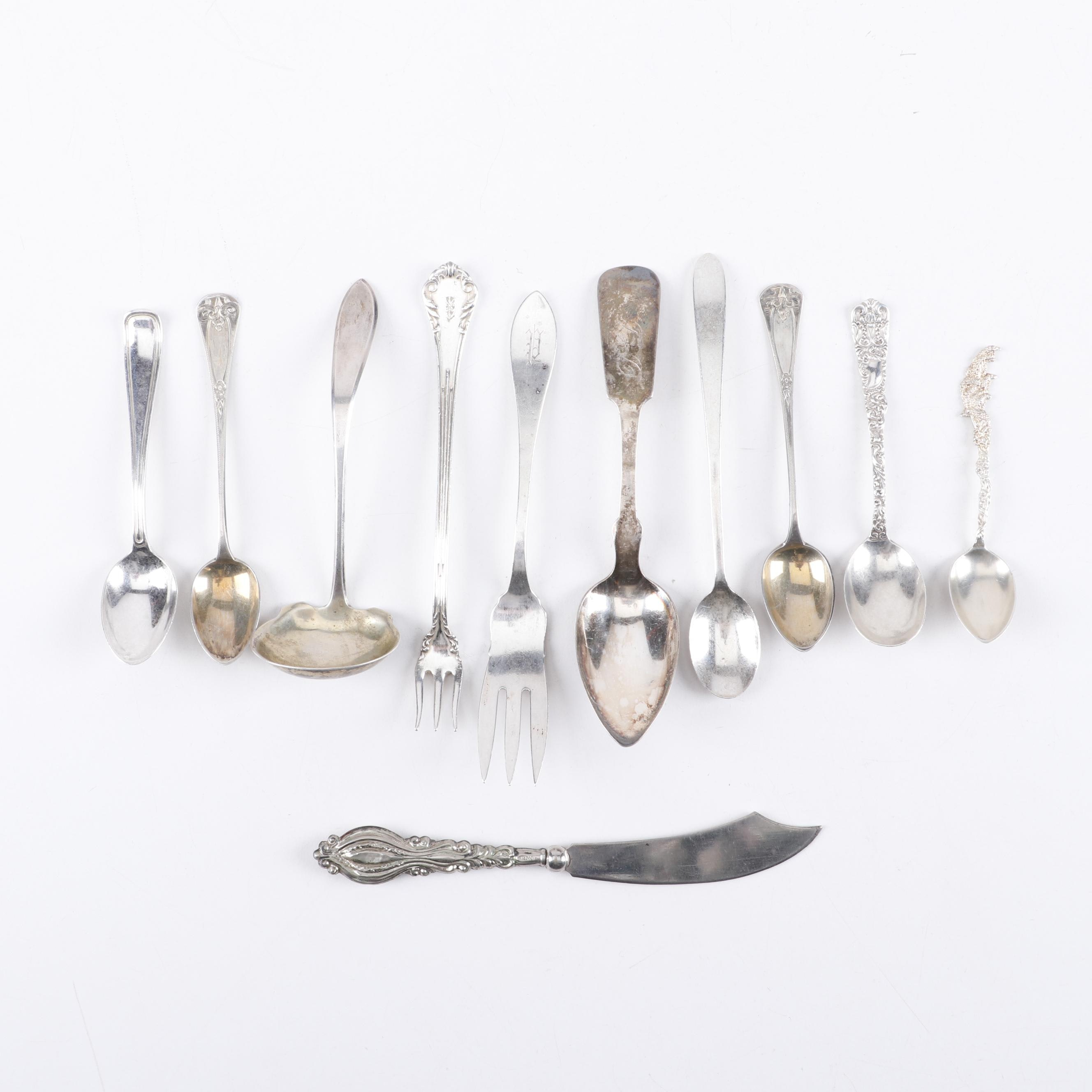 Mixed Flatware of Sterling Silver, Silver Plate and Coin Silver