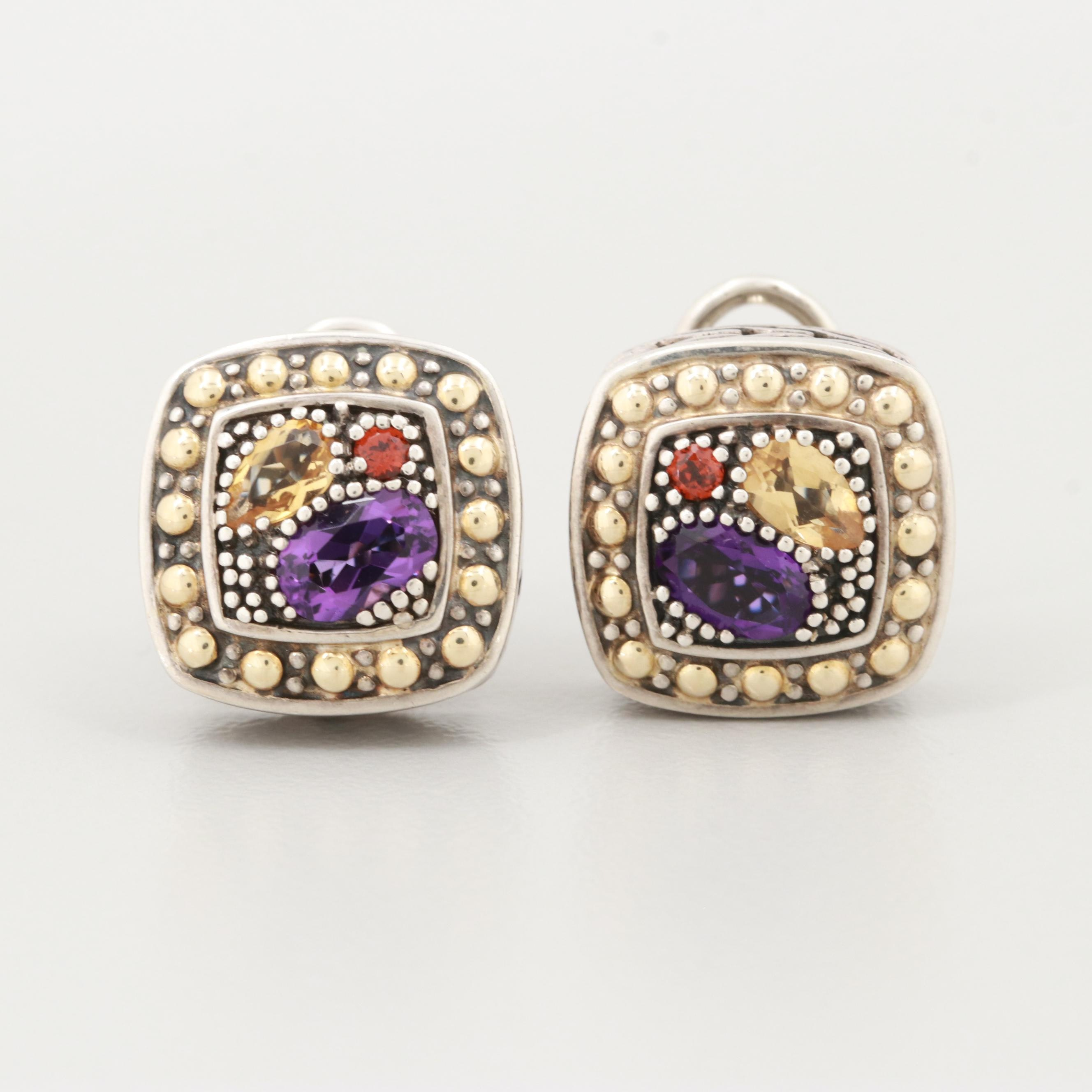 "Effy ""Balissima"" Sterling Silver Gemstone Earrings with 18K Yellow Gold Accents"