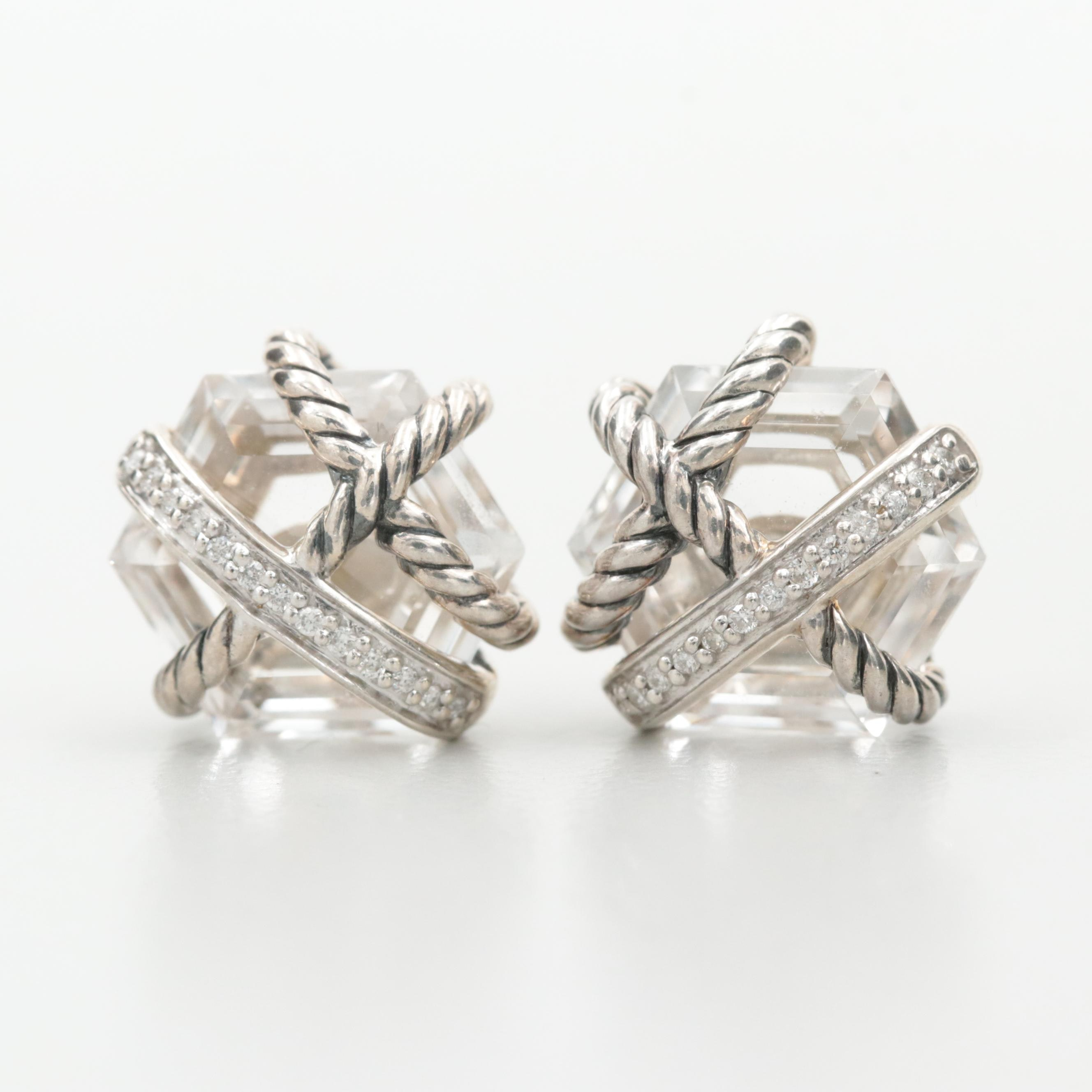 David Yurman Sterling Silver Quartz and Diamond Cable Wrap Stud Earrings