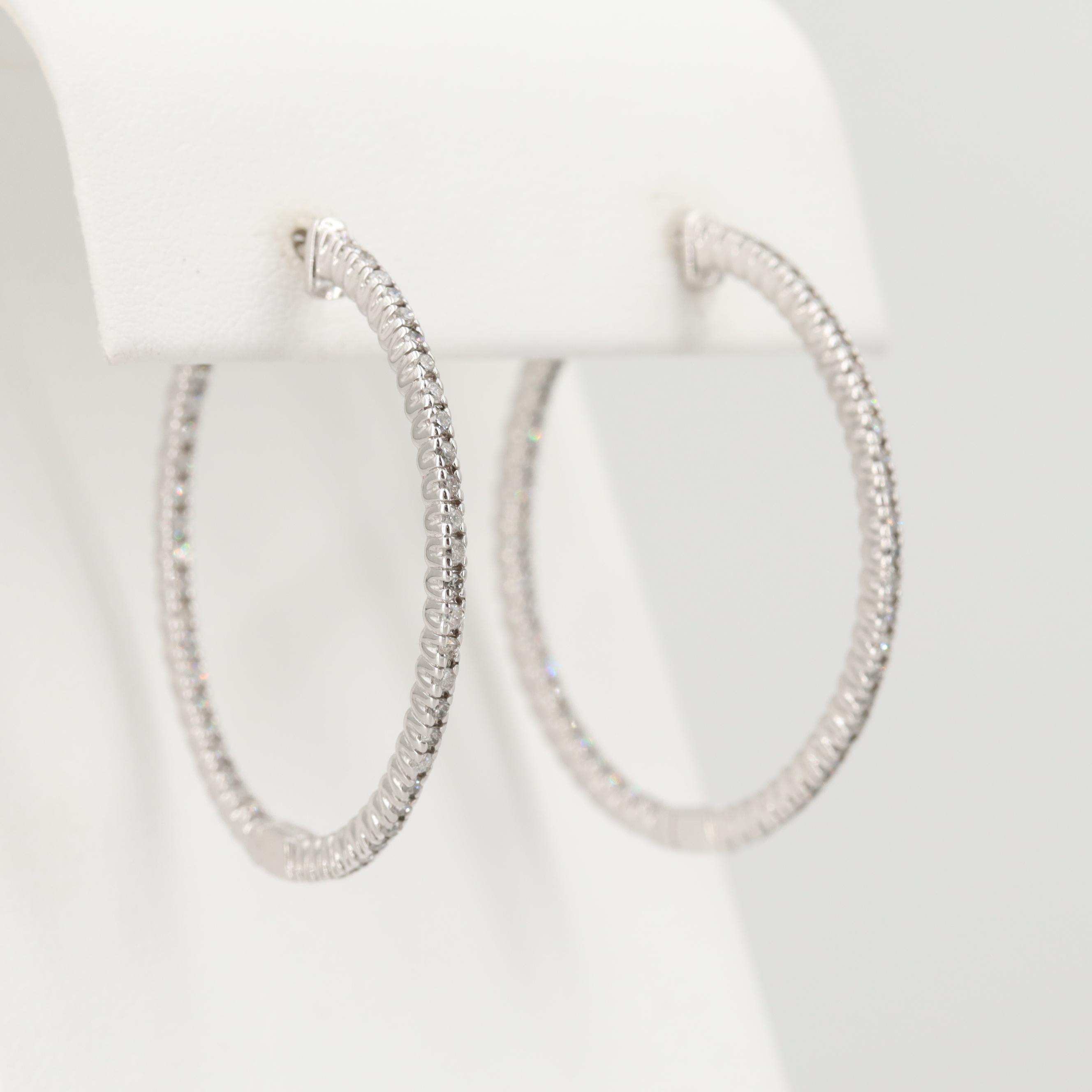 14K White Gold 1.00 CTW Diamond Inside Outside Hoop Earrings