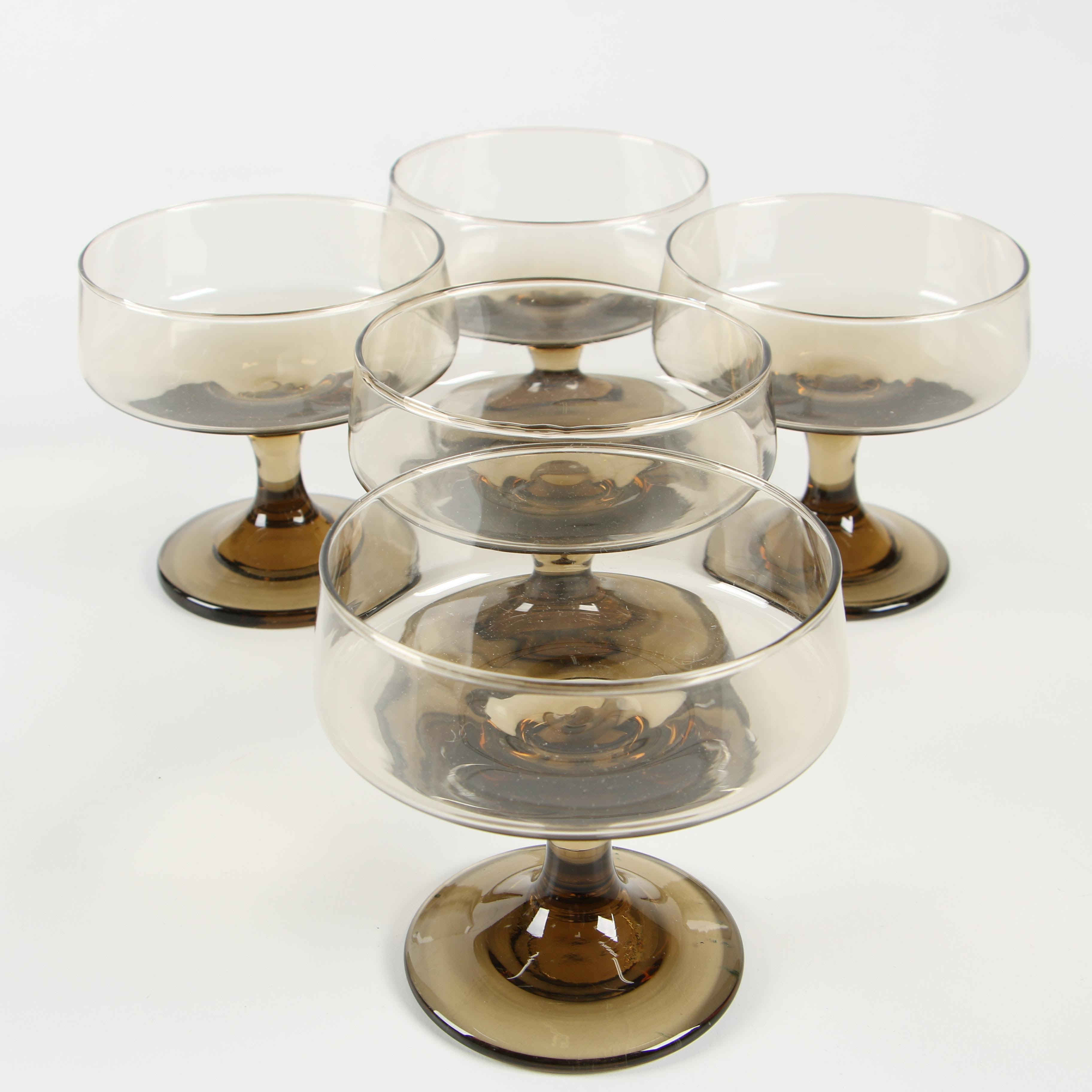Smoked Amber Glass Champagne Coupes