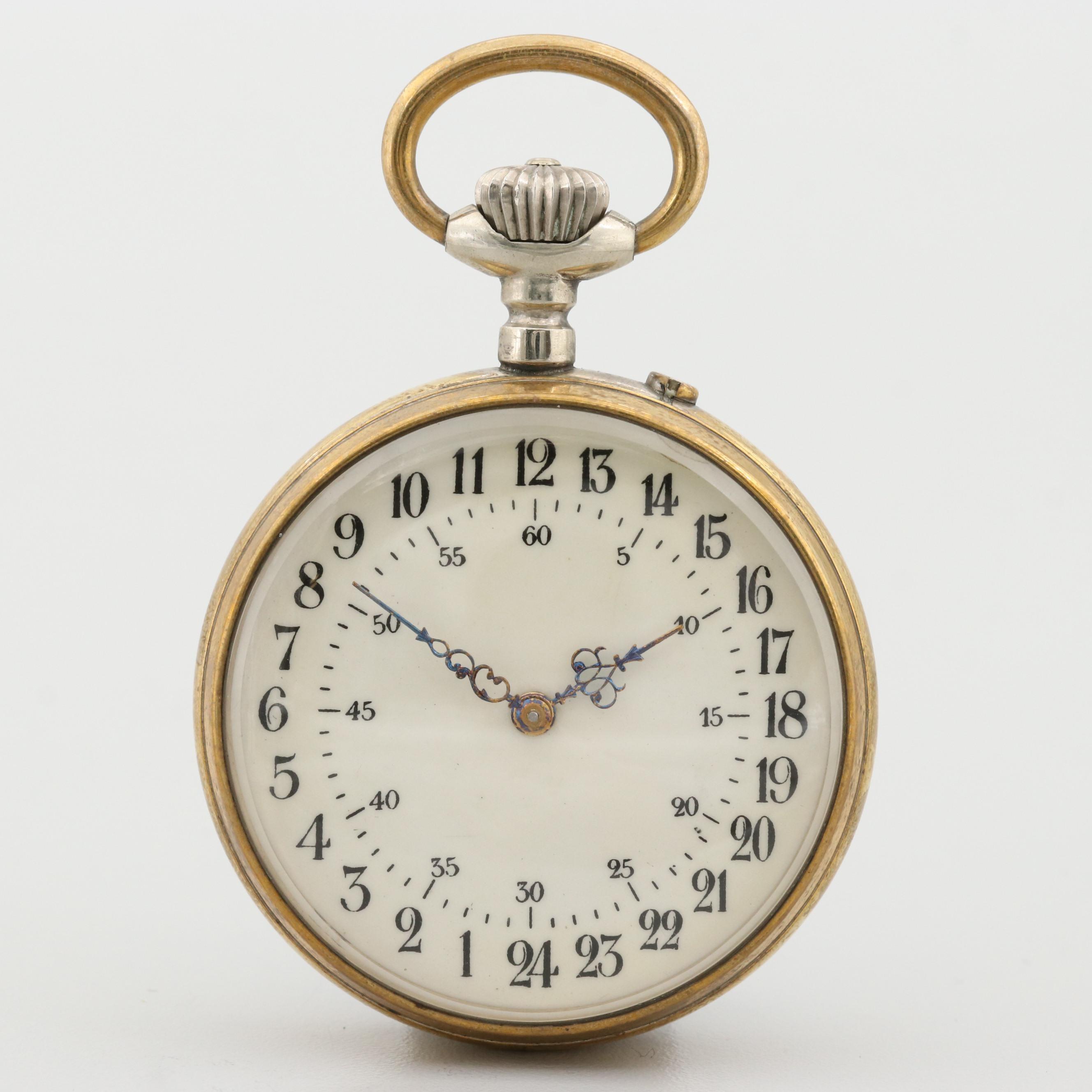 Antique Longines Gold Tone Twenty Four Hour Open Face Pocket Watch