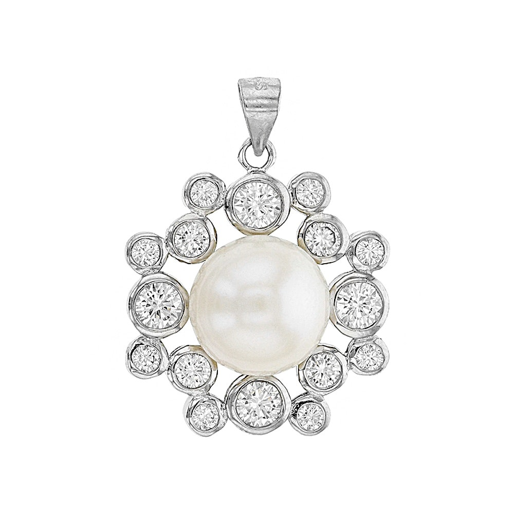 Sterling Silver Cultered Pearl and Diamond Simulant Pendant