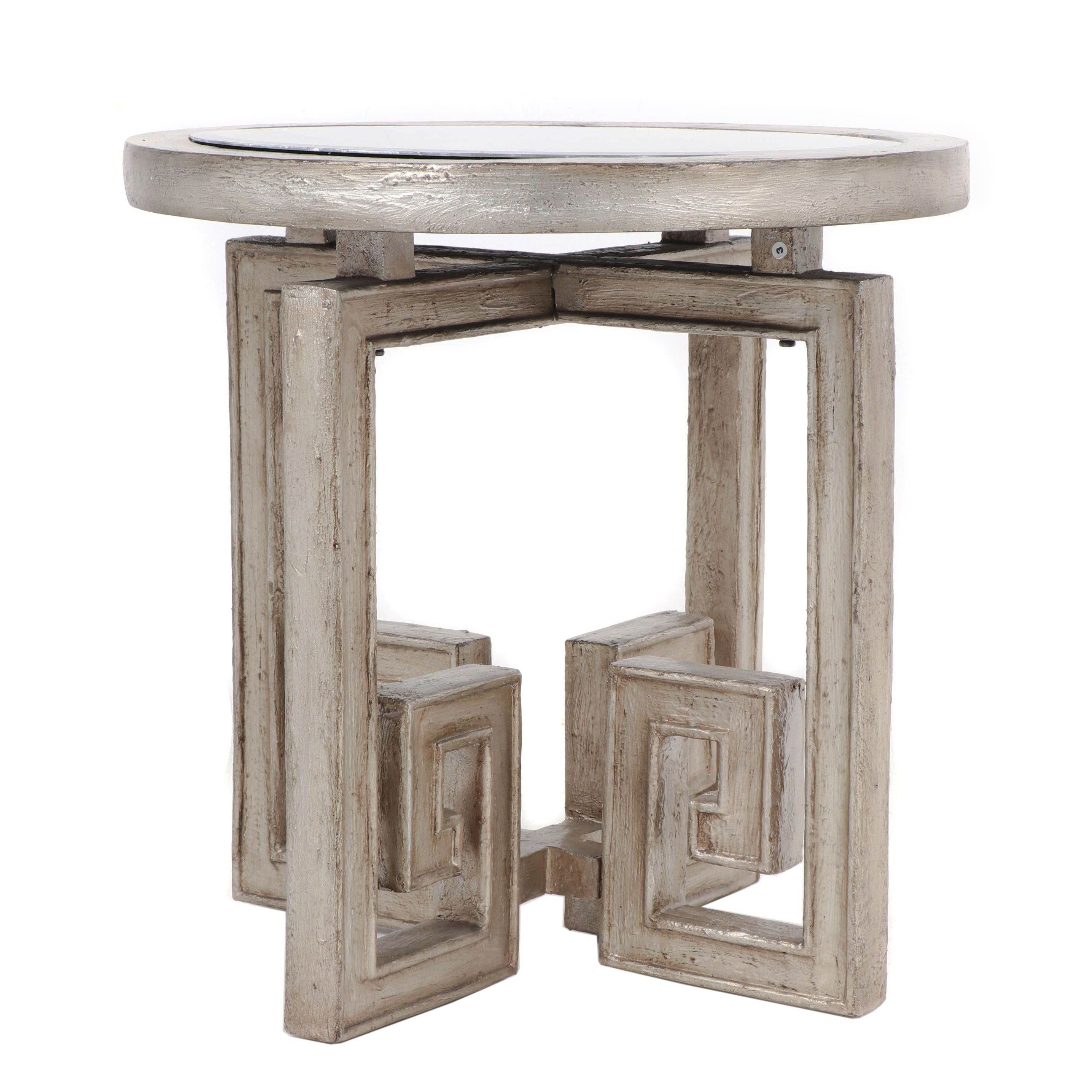 Contemporary Engineered Wood Side Table with Mirrored Top