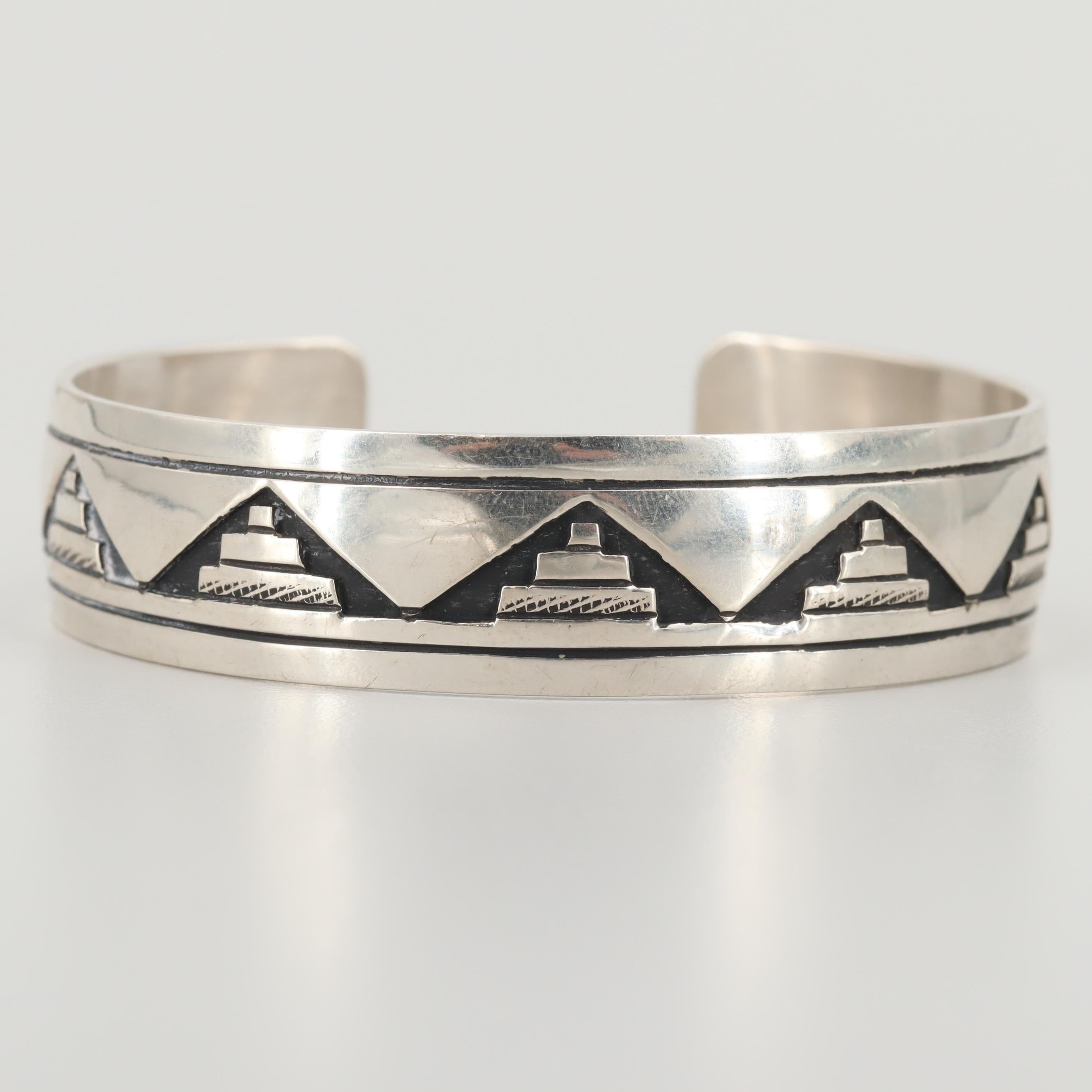 Tom Billy Navajo Diné Sterling Silver Cuff Bracelet