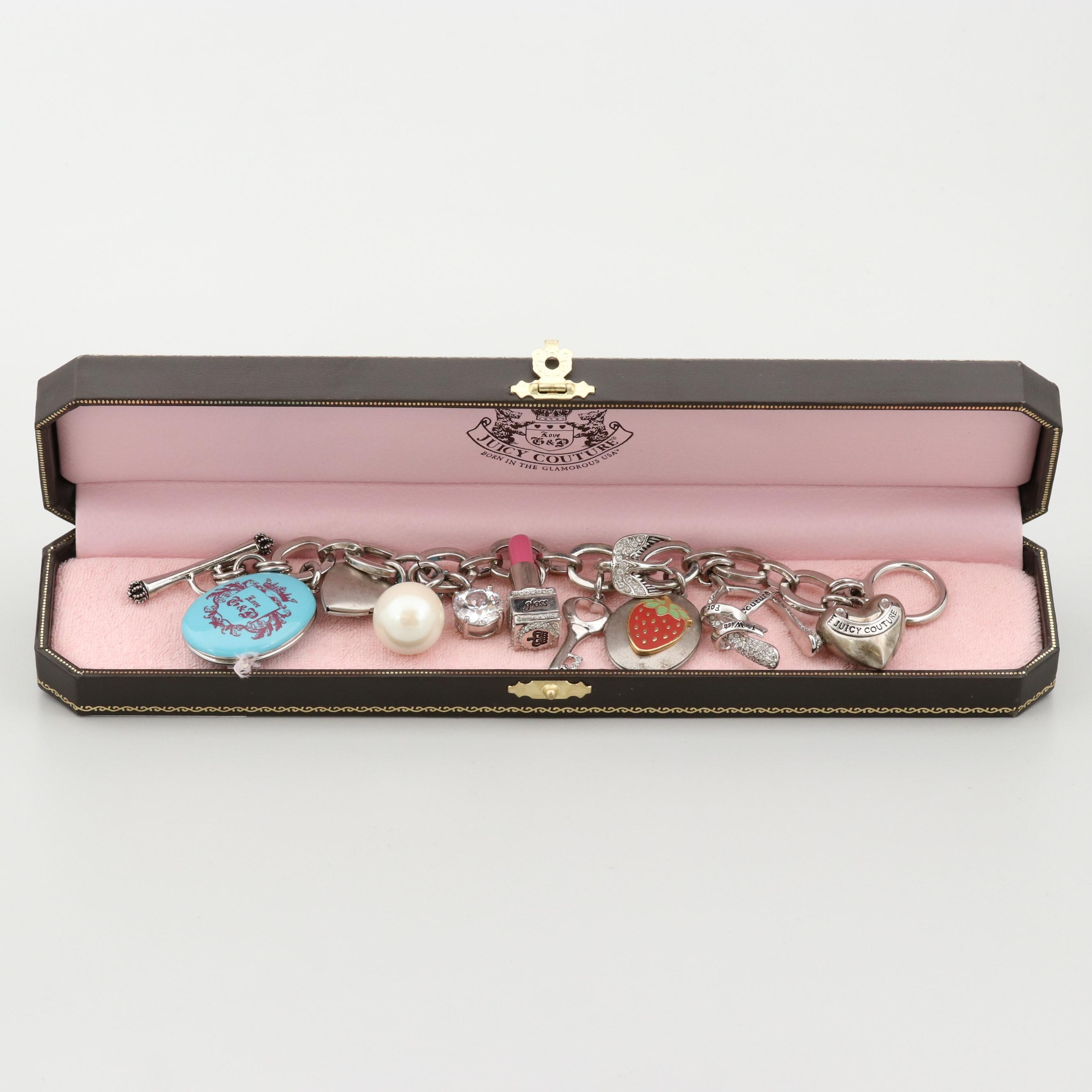 Juicy Couture Silver Tone Imitation Pearl and Cubic Zirconia Charm Bracelet