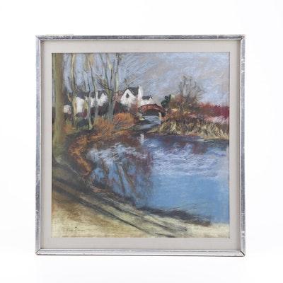 S. Elman Pastel Riverscape Drawing