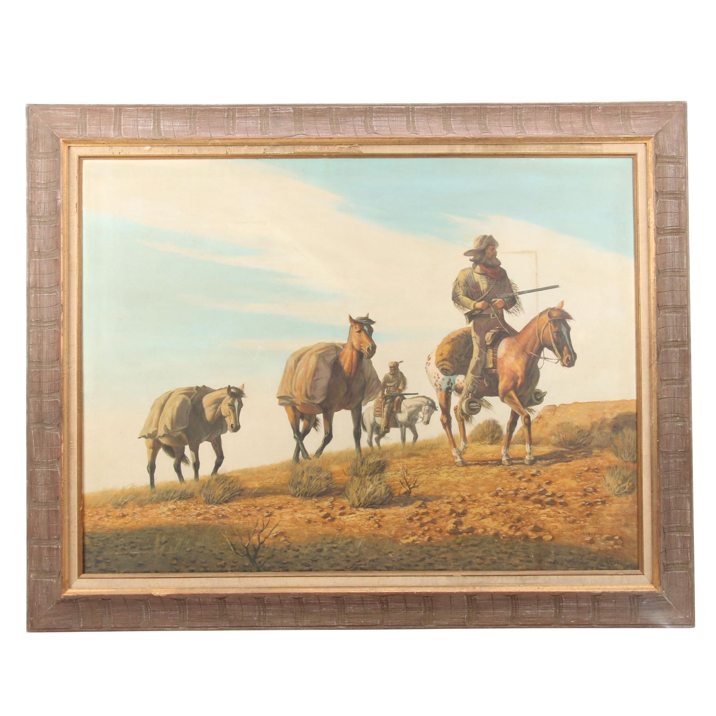 C. Quany Oil Painting of Mountain Men Leading Pack Horses