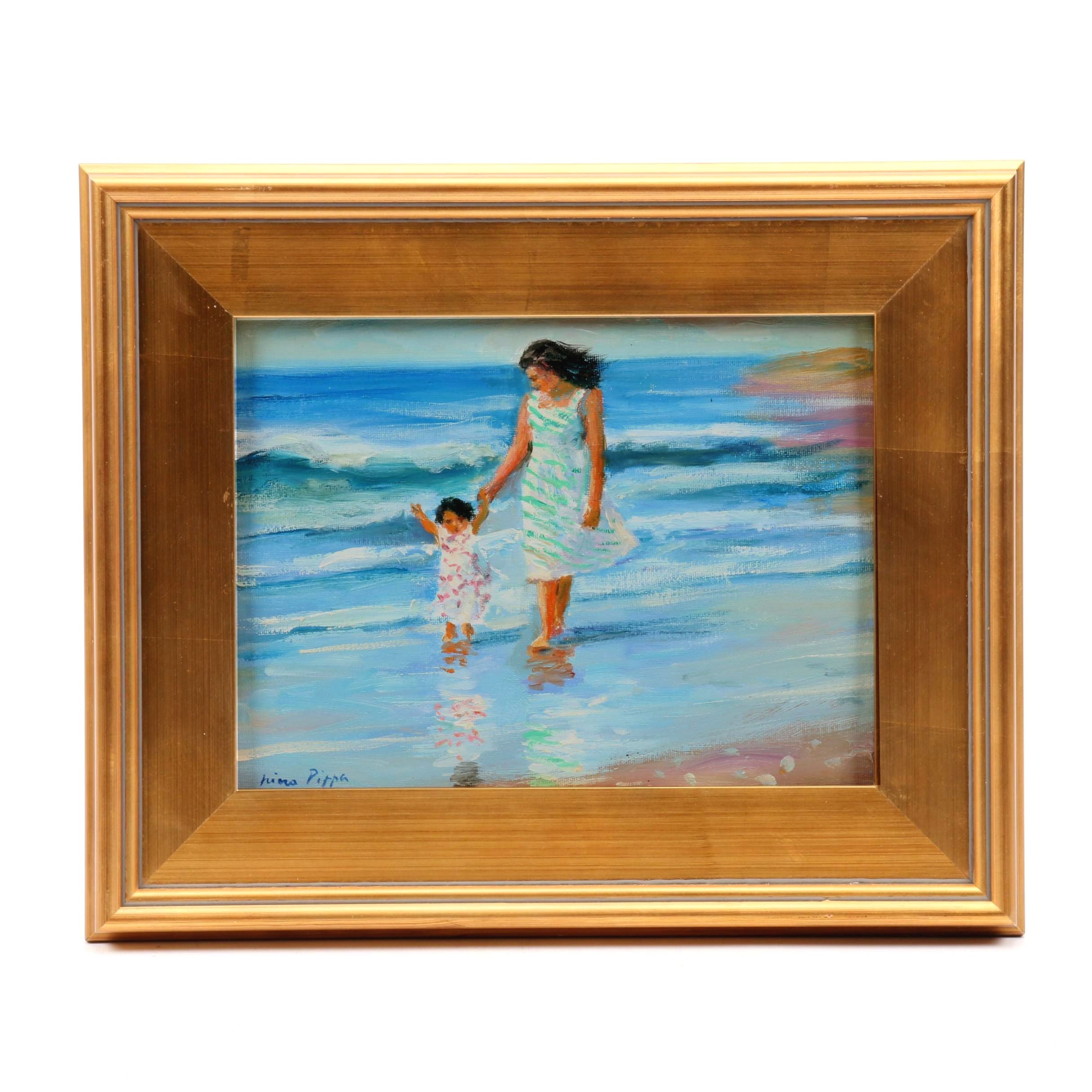 "Nino Pippa Oil Painting ""Mother and Child"""