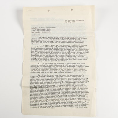 Boris Karloff Single Film Columbia Pictures Contract, May 15, 1934