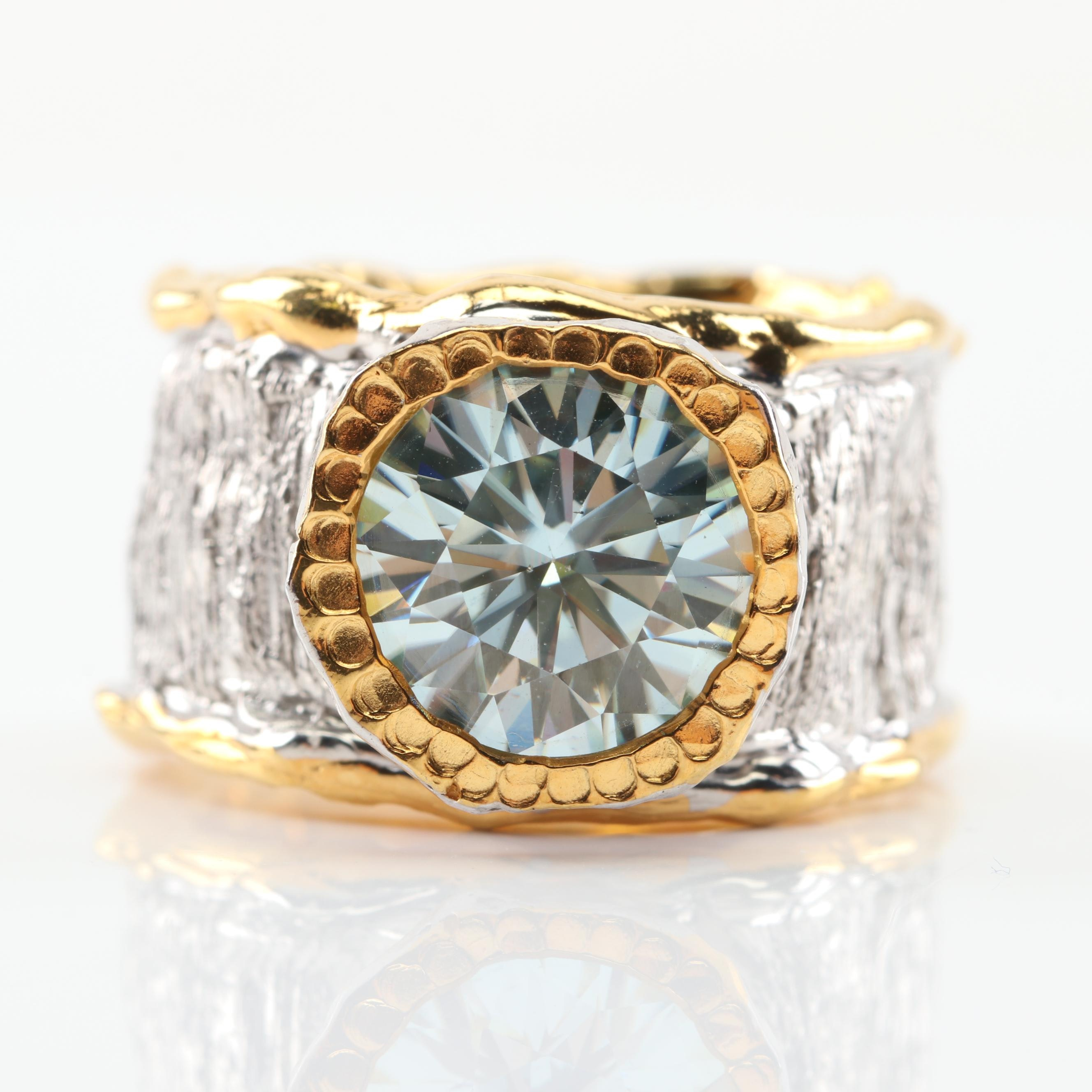 Sterling Silver Moissanite Ring with Gold Wash
