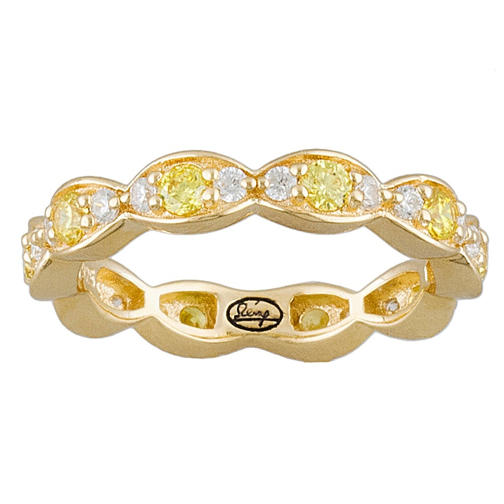Gold Wash on Sterling Silver Diamond Simulant Ring