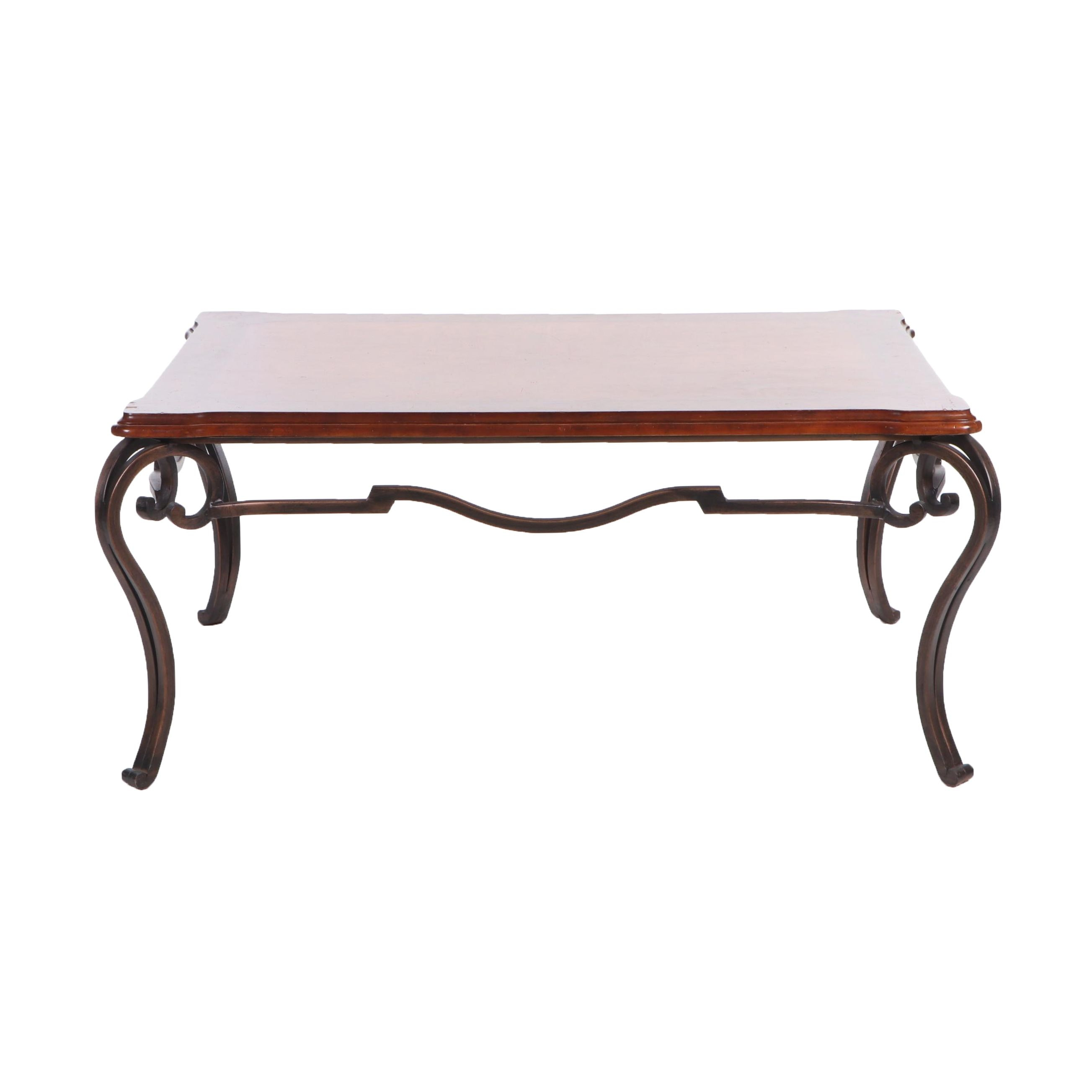 French Country Style Painted Wood and Iron Coffee Table, Contemporary