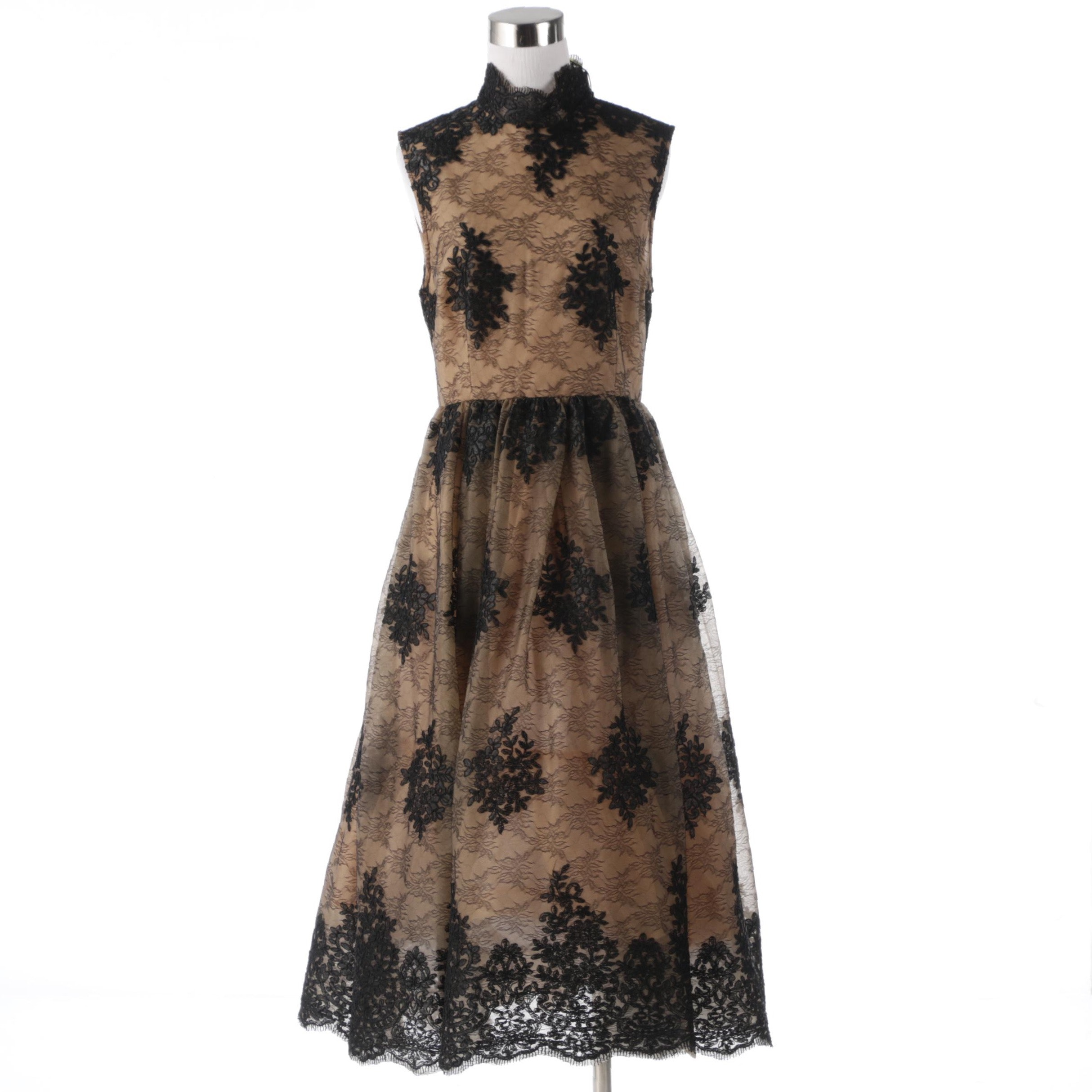 Tracy Reese Black Label Lace Overlay Sleeveless Evening Dress