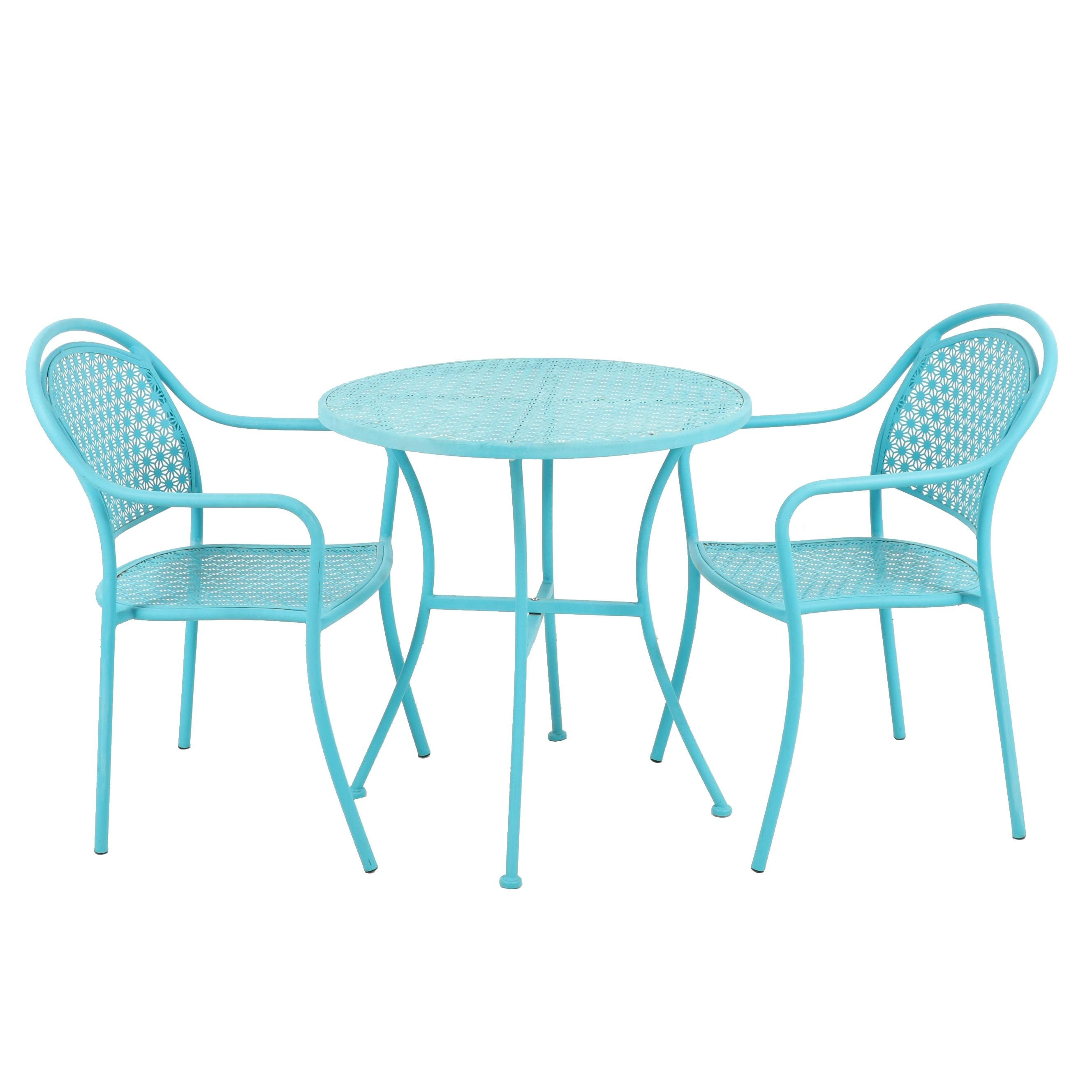 Contemporary Blue Metal Patio Table and Chairs