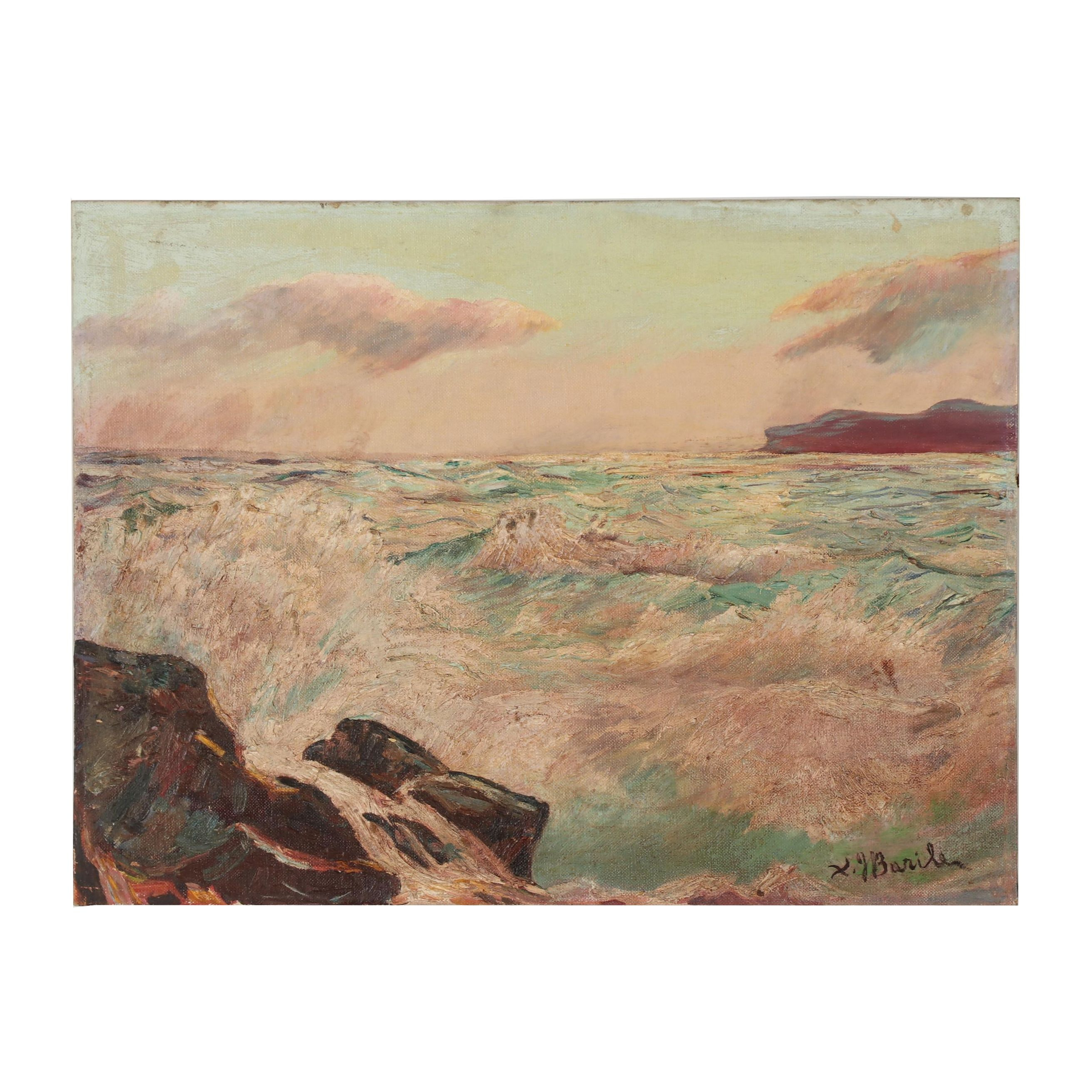 Xavier J. Barile Oil Painting of Coastal Scene
