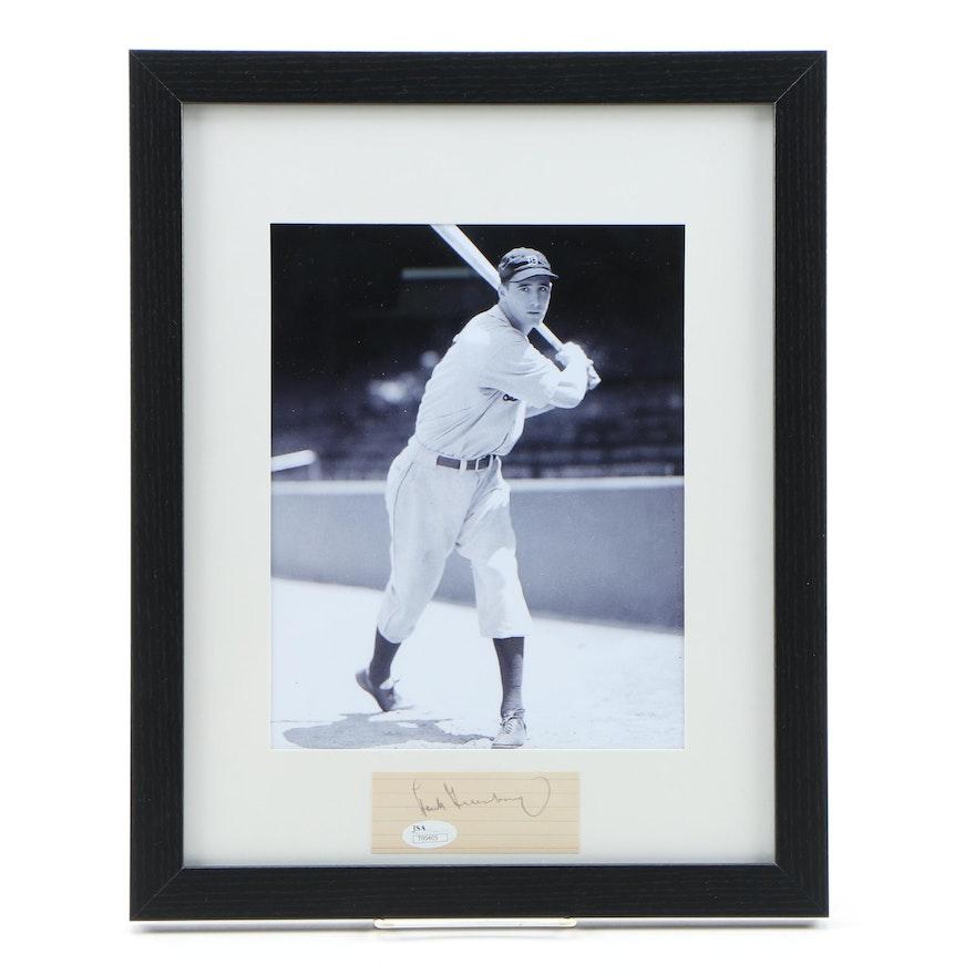Framed Autograph and Photo of Hank Greenberg HOF of the Detroit Tigers JSA/COA
