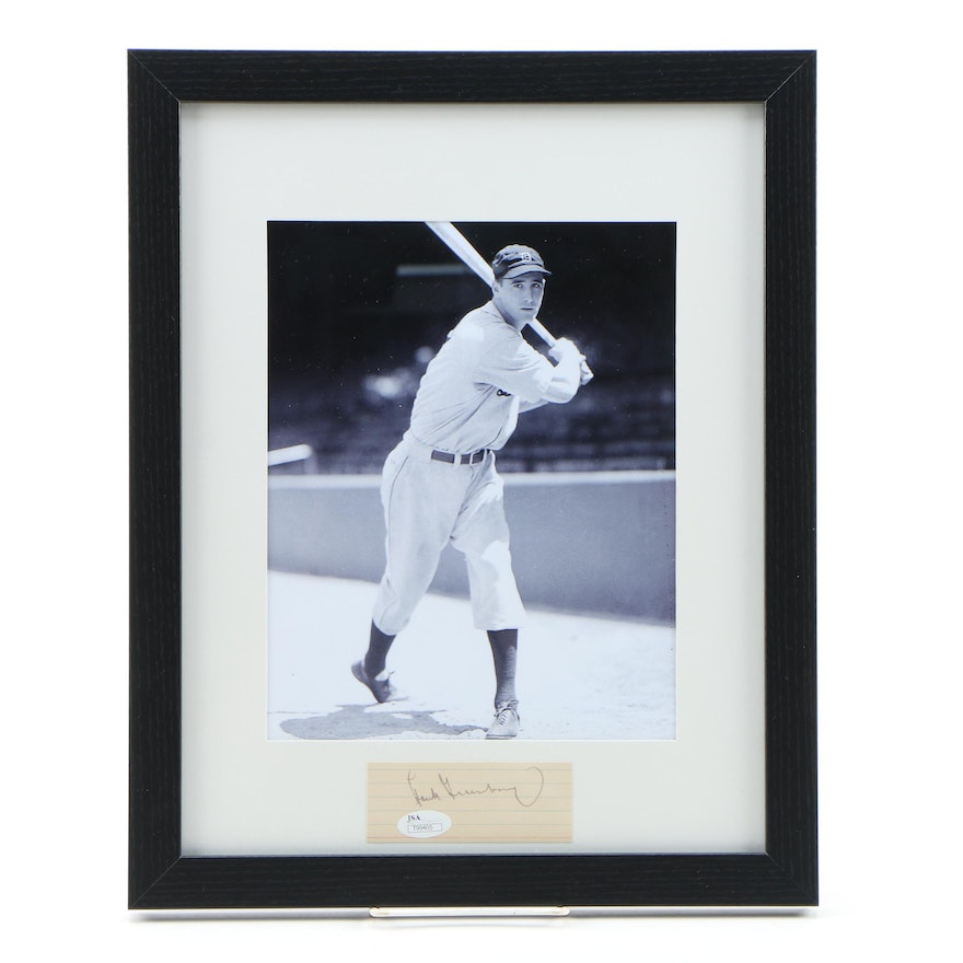 Framed Autograph and Photo of Hank Greenberg HOF of the Detroit Tigers JSA/COA