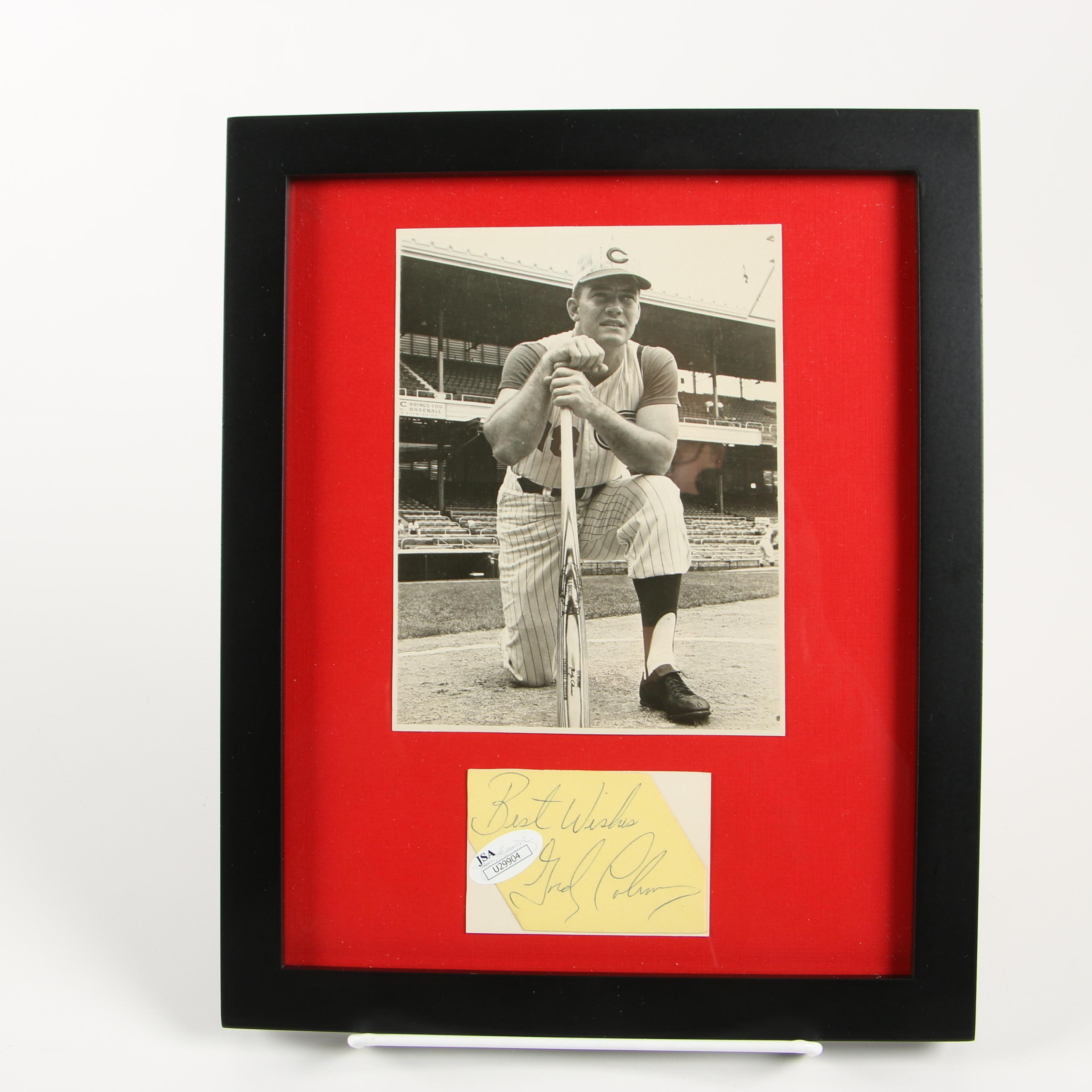 Framed Autograph and Photo of Gordy Coleman of the Cincinnati Reds JSA/COA