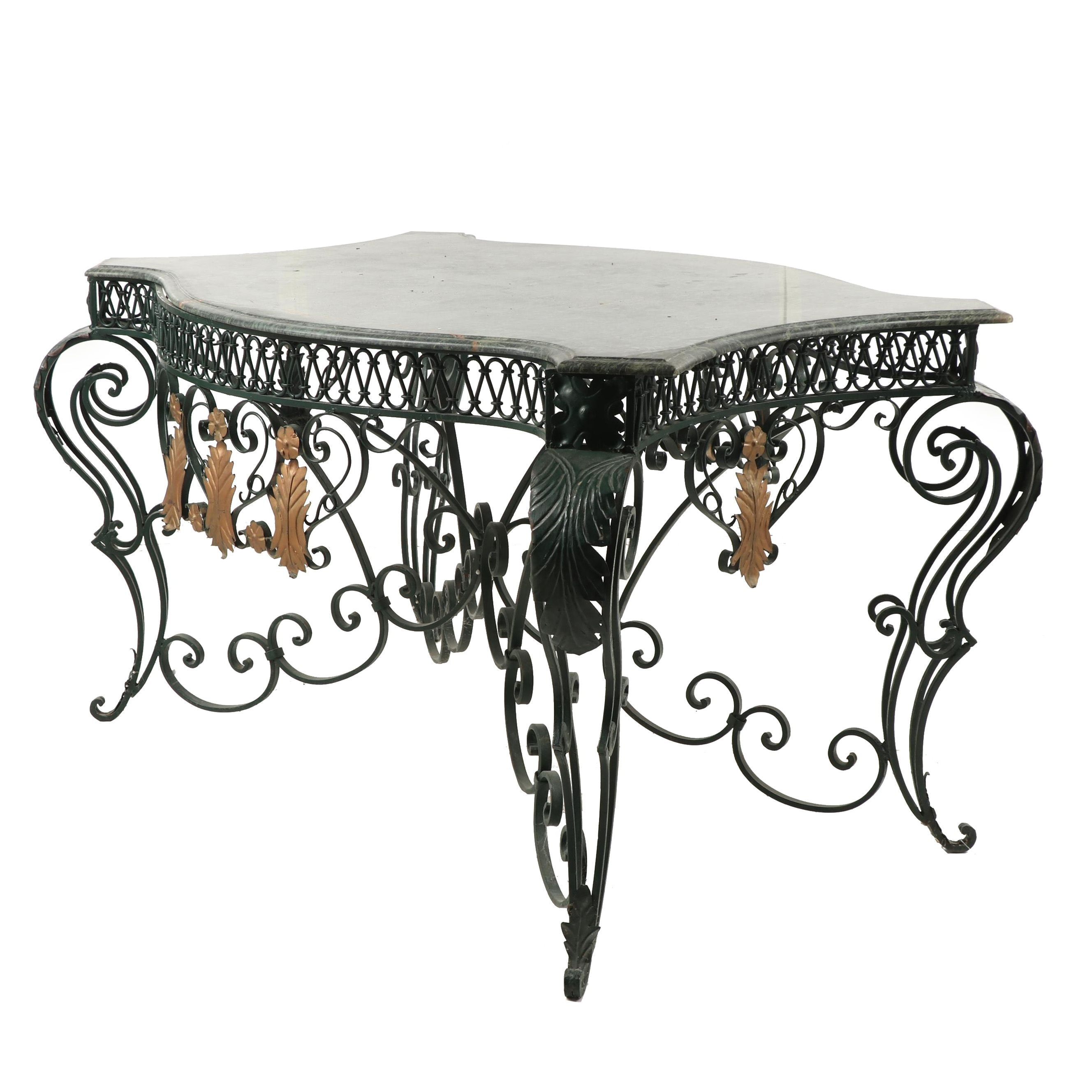 Contemporary French Style Green Wrought Iron Center Table with Marble Top