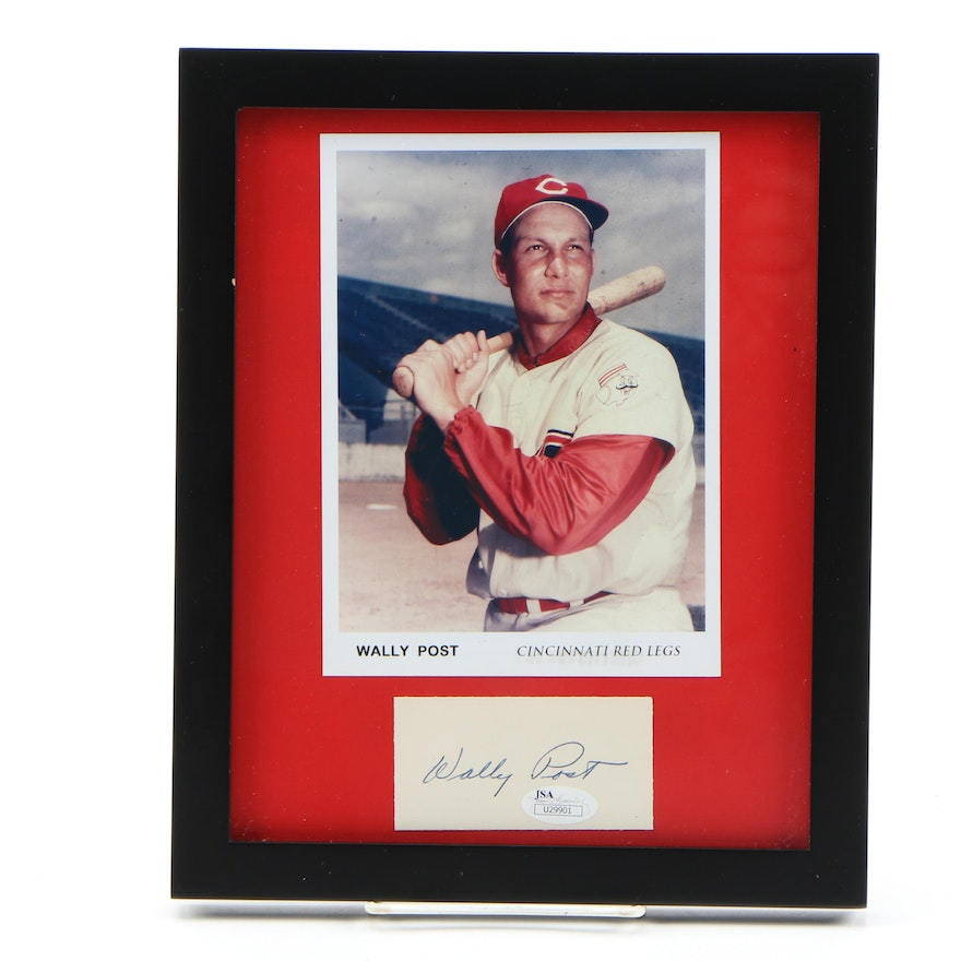 Framed Autograph and Photo of Wally Post of the Cincinnati Red Legs JSA/COA