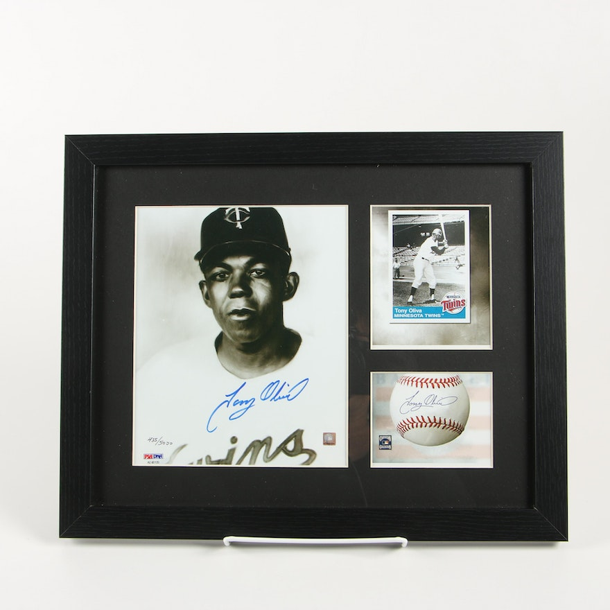 Tony Oliva Framed Autographed Toon Art Lithograph Twins Limited PSA