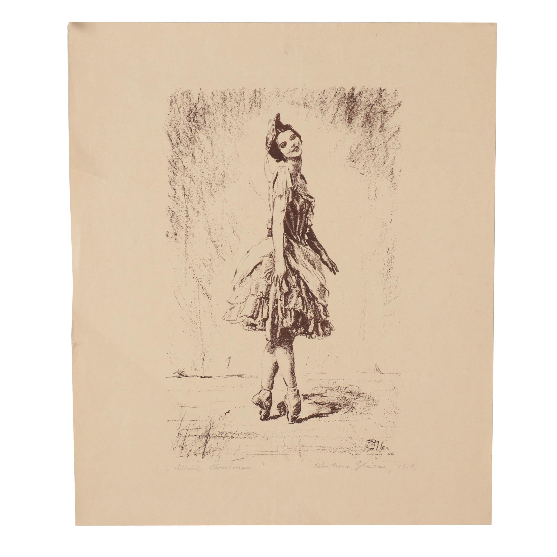 1919 Lithograph of Ballet Dancer