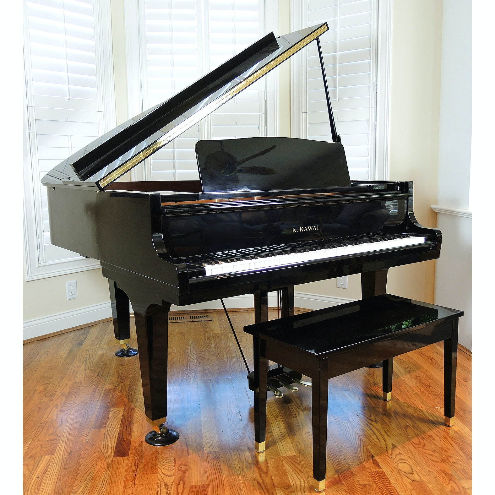 "K. Kawai 5'1"" GE-1 Baby Grand Piano with Bench"