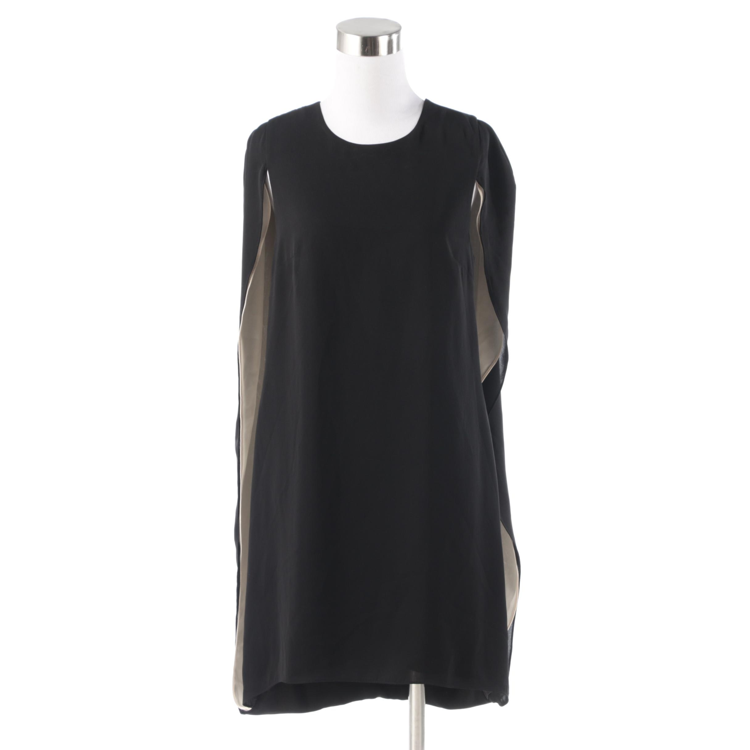 Halston Heritage Evening Collection Dress in Black and Chai with Draped Cape