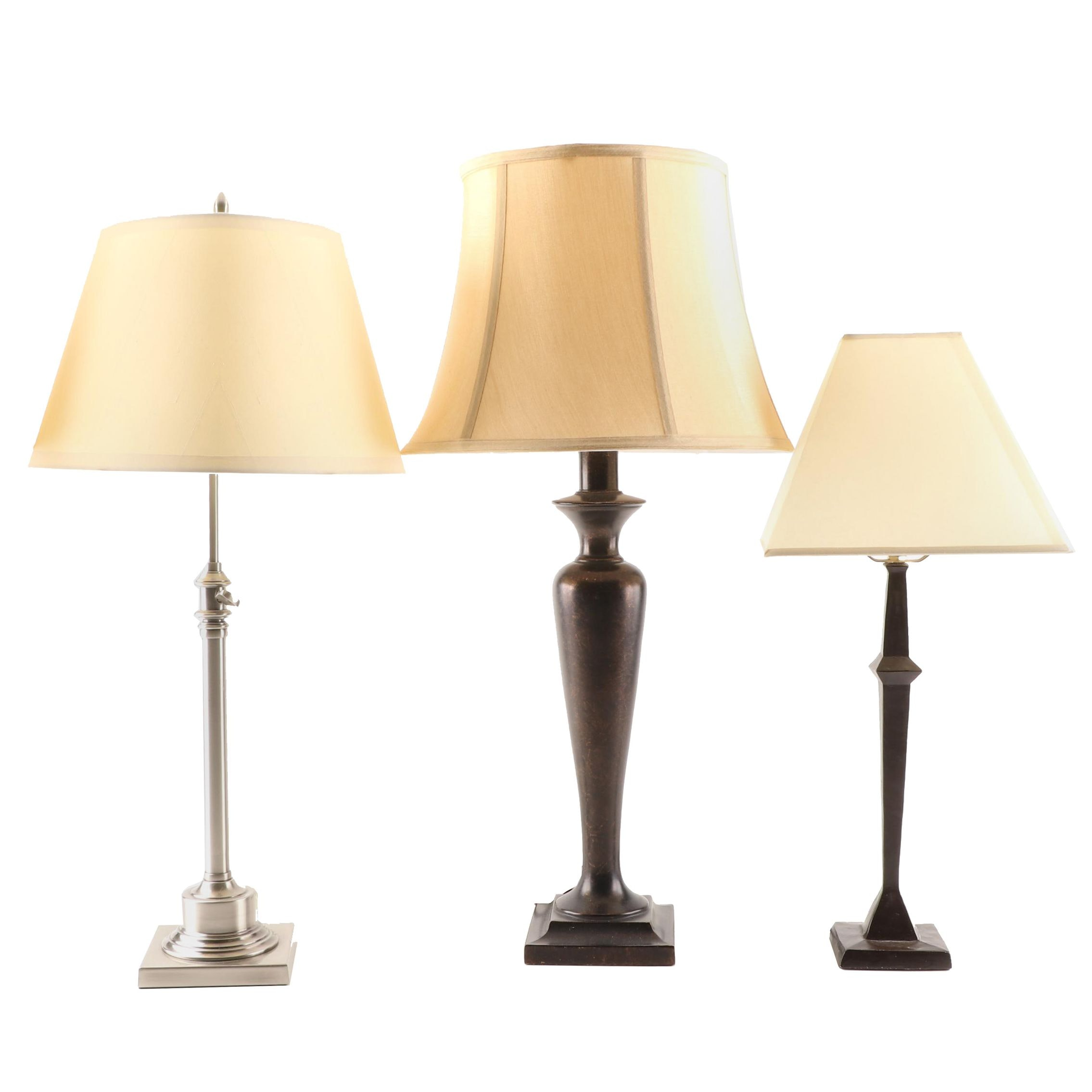 Contemporary Metal Table Lamp Grouping Featuring Restoration Hardward