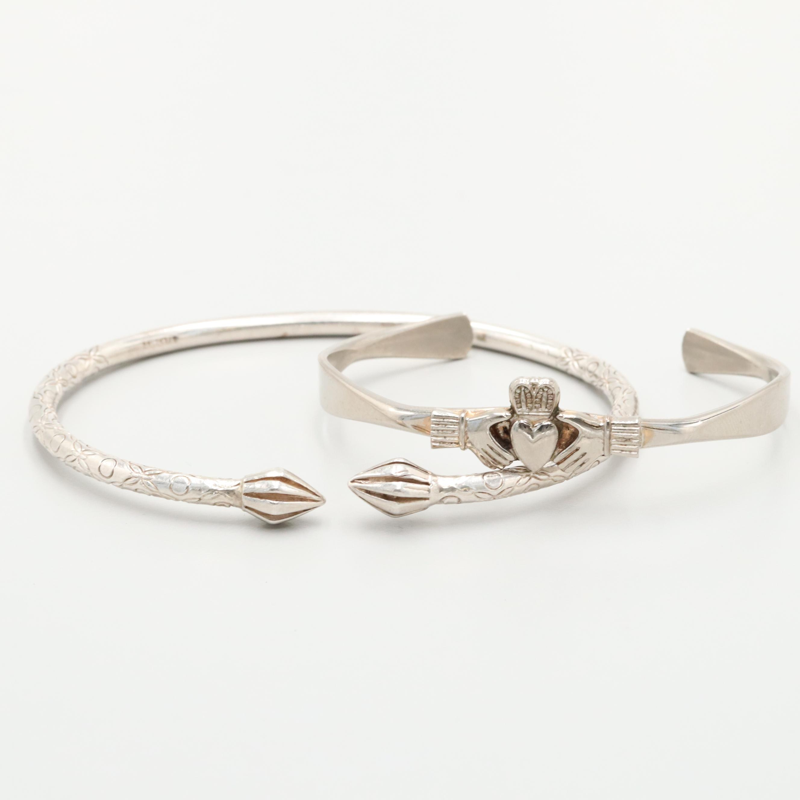 Sterling Silver Cuff Bracelet and Silver Tone Claddagh Cuff Bracelet