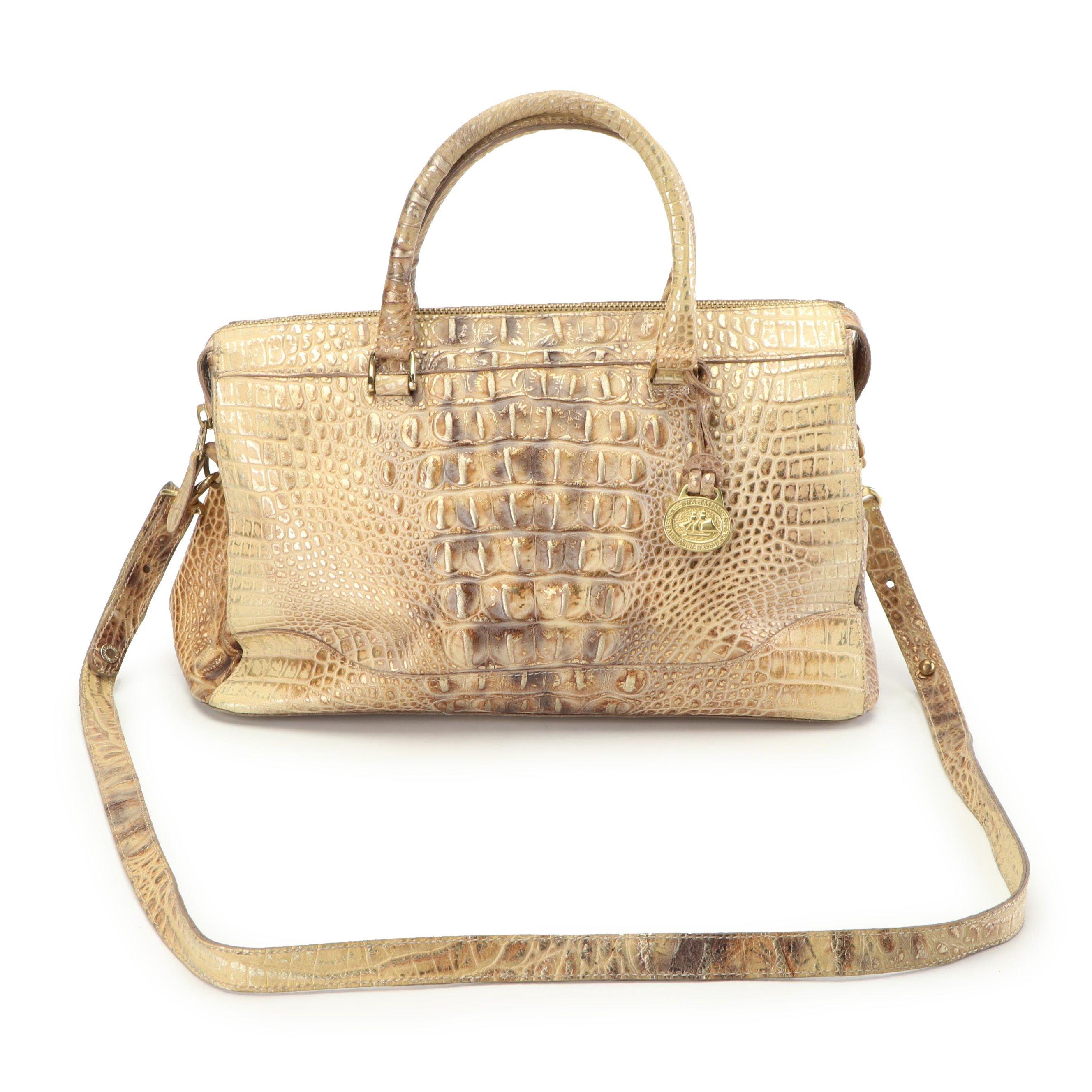 Brahmin Metallic Serengeti Croc Embossed Leather Convertible Handbag