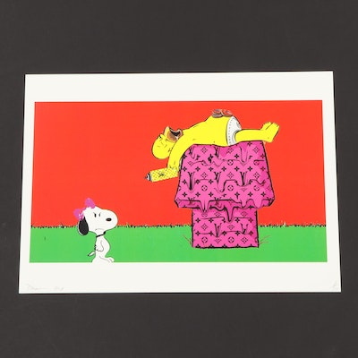 Death NYC Snoopy and Homer Graphic Print