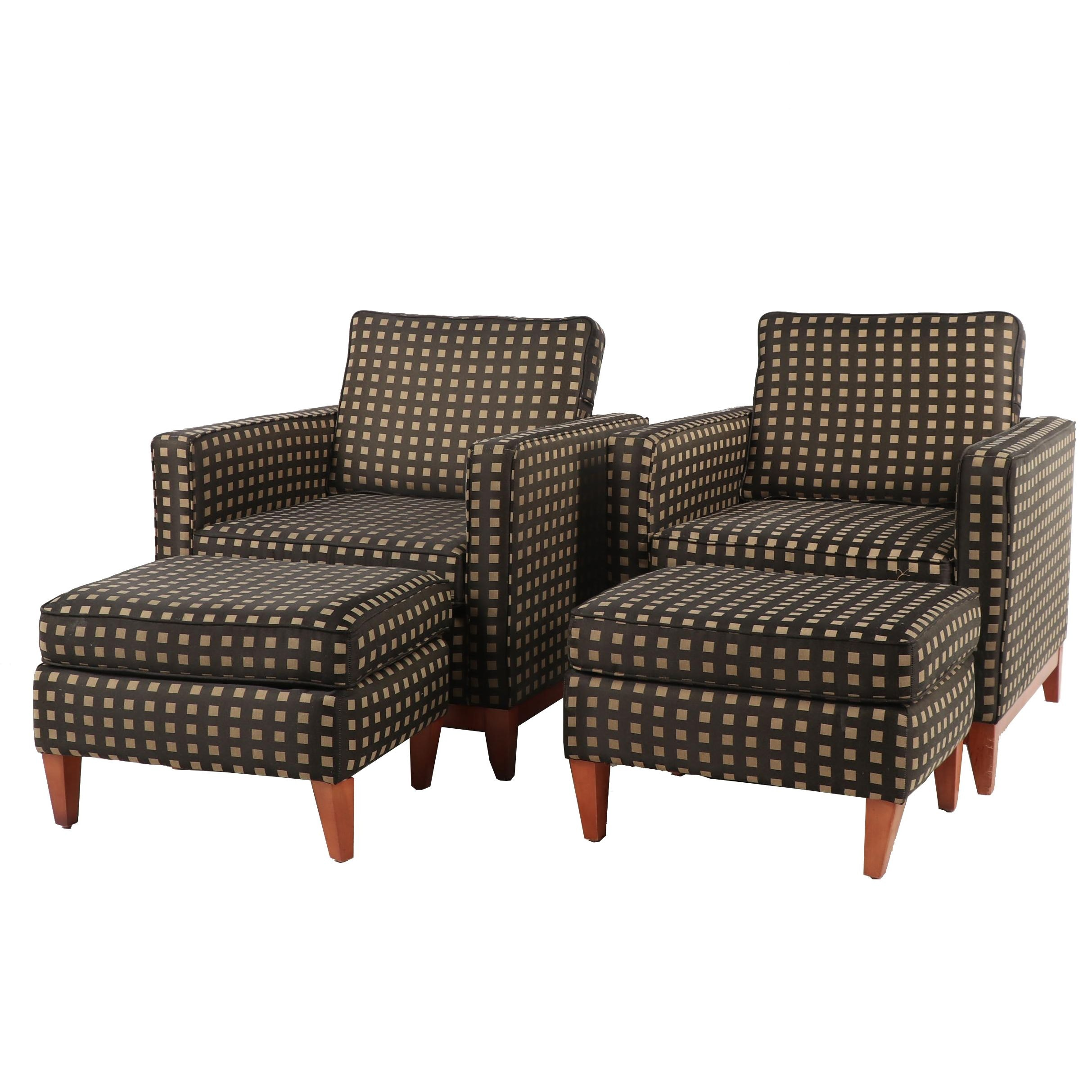 Pair of Contemporary Flexsteel Club Chairs and Ottomans