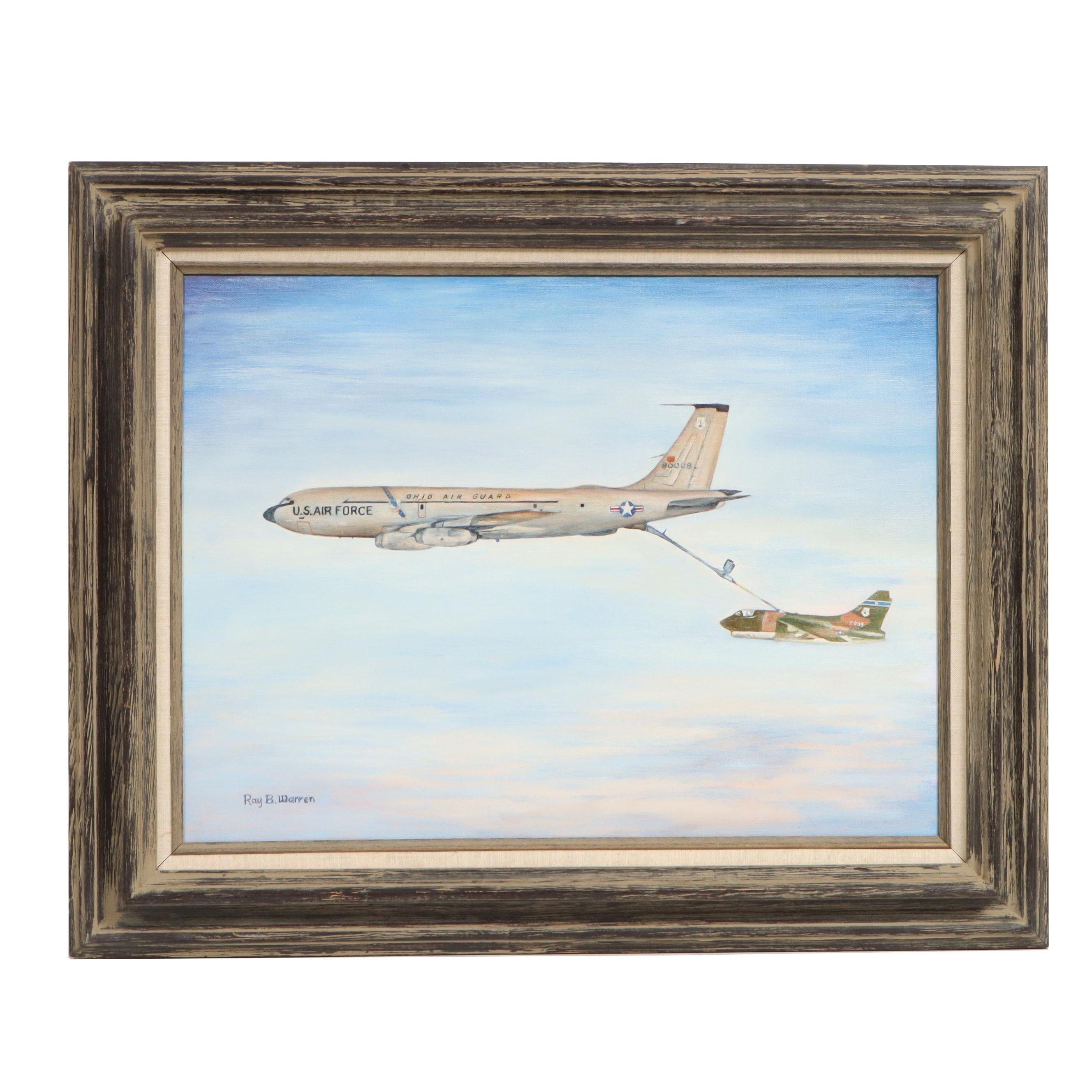 Ray B. Warren Oil Painting Ohio Air Guard Refueling Operation