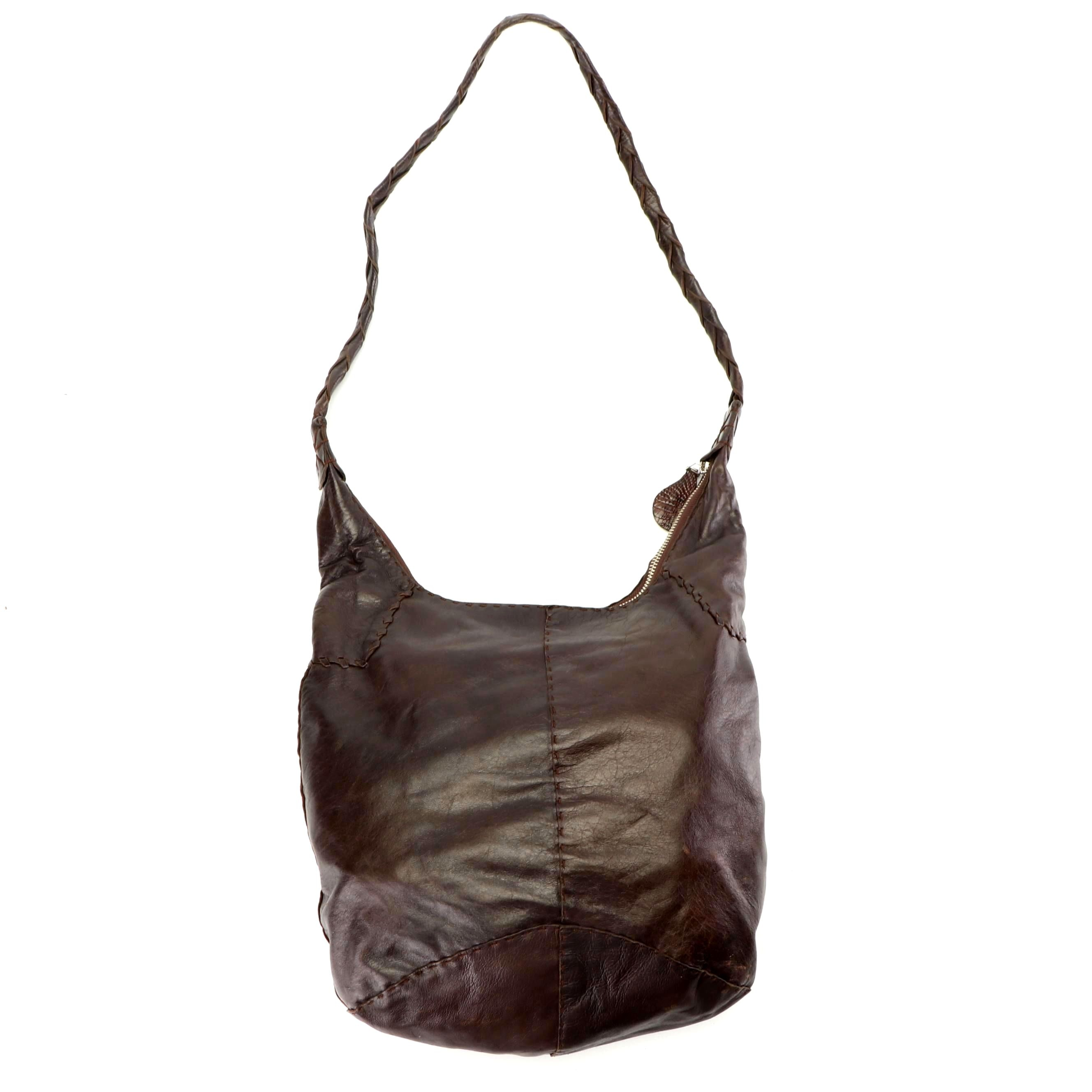 Parker Ochs Dark Brown Leather Hobo Bag with Woven Strap