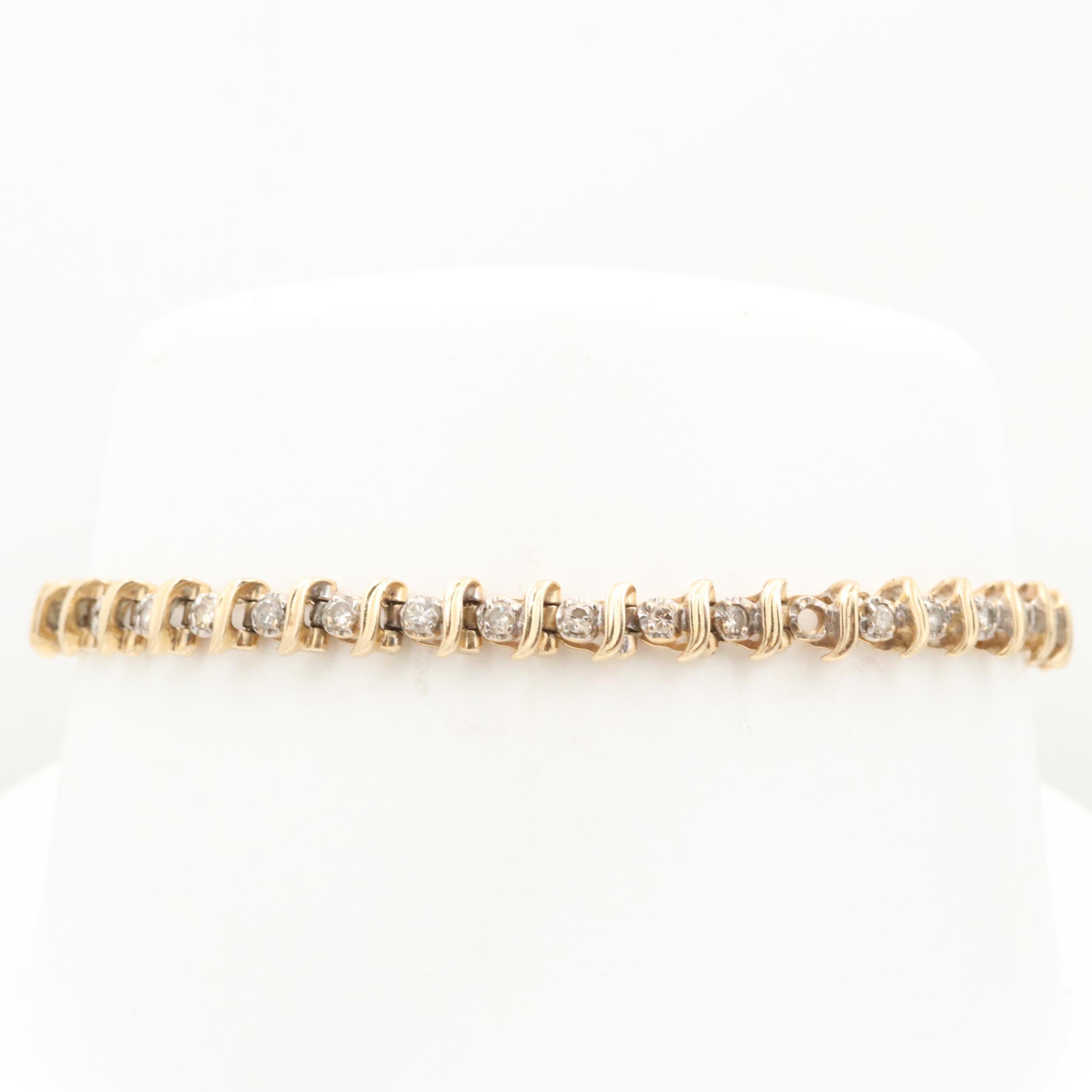 14K Yellow Gold 1.20 CTW Diamond Tennis Bracelet