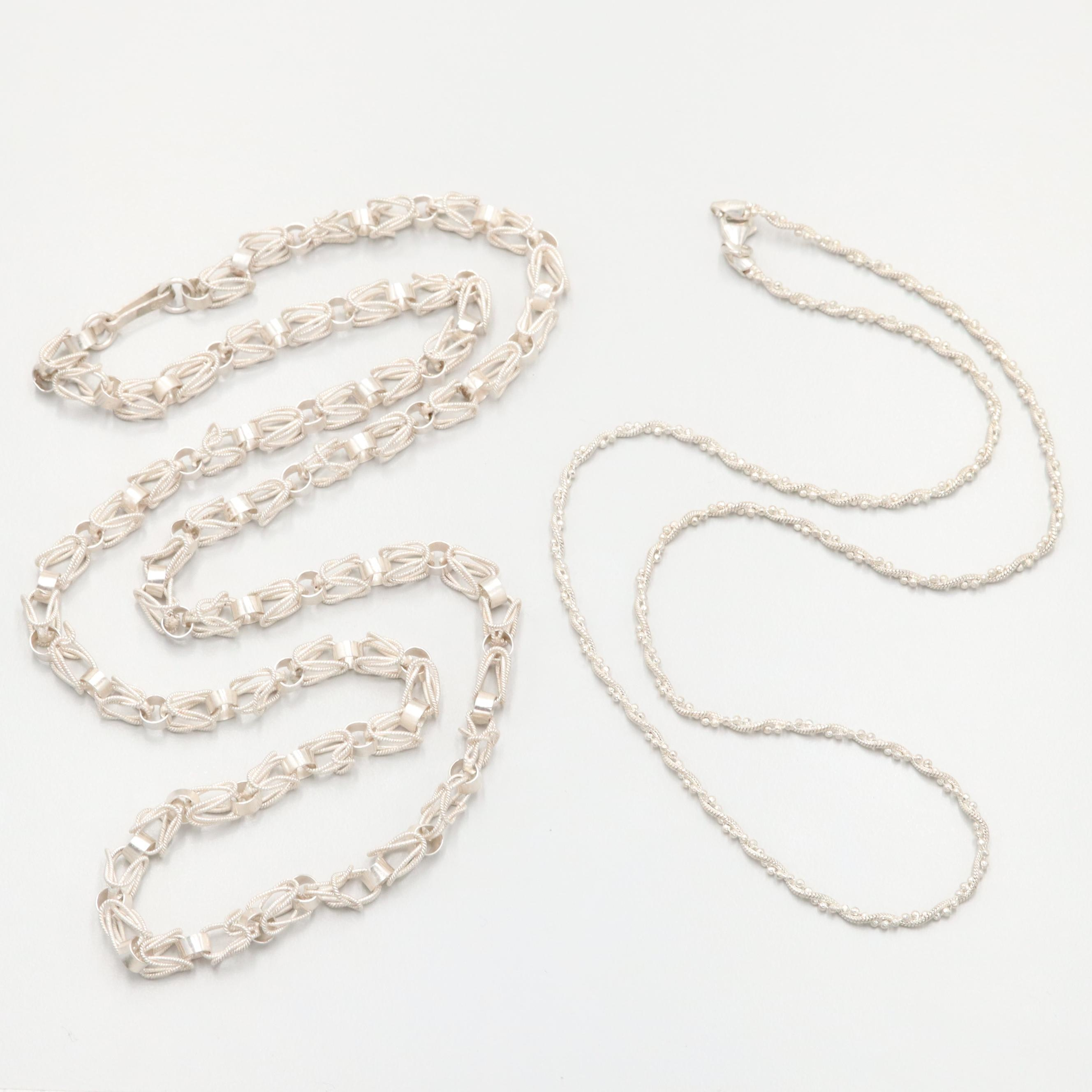 Sterling Silver Fancy Link Chain Necklaces