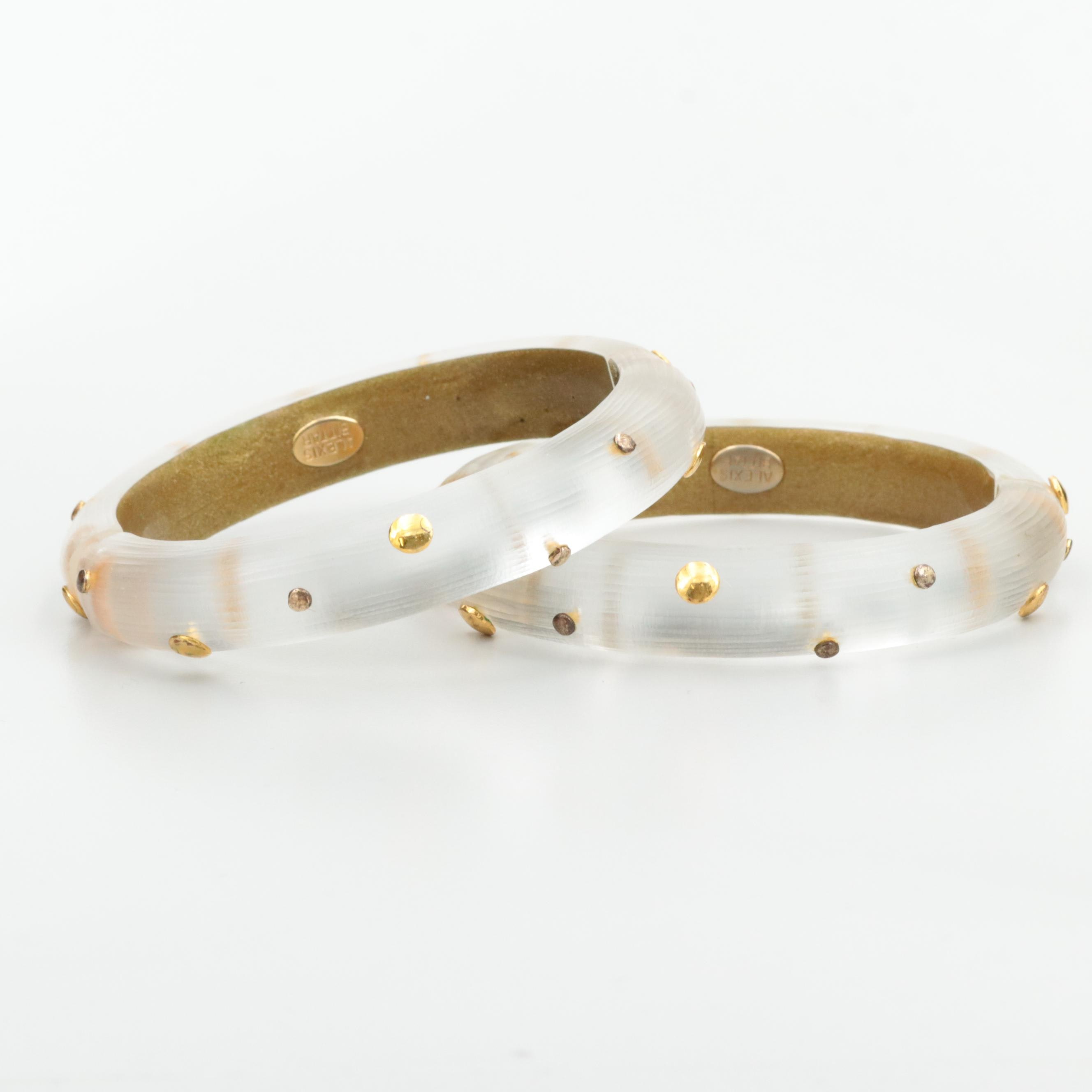 Alexis Bittar Hinged Lucite Bangles With Gold Tone Accents