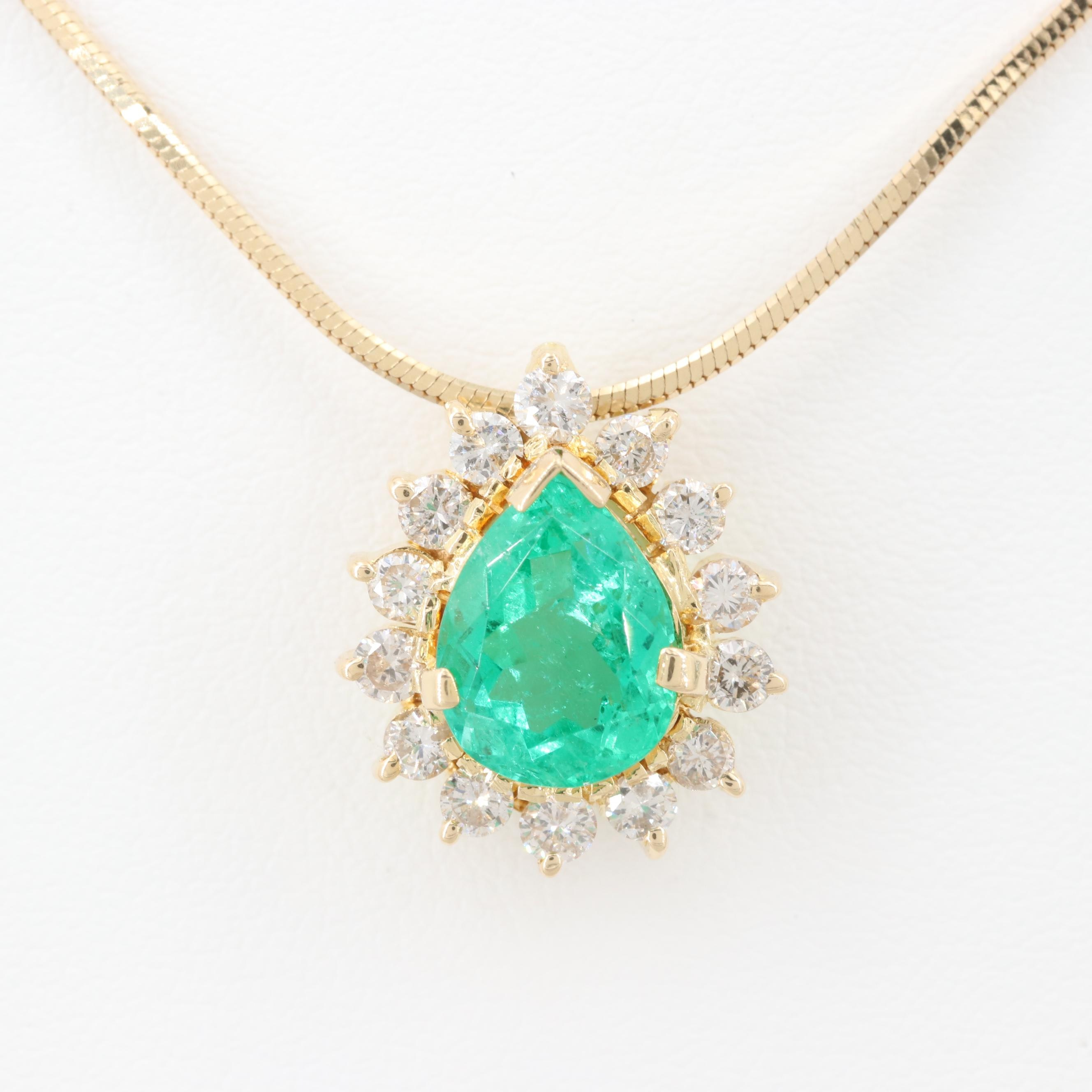 18K Yellow Gold 1.87 CT Emerald and Diamond Pendant on 14K Yellow Gold Chain