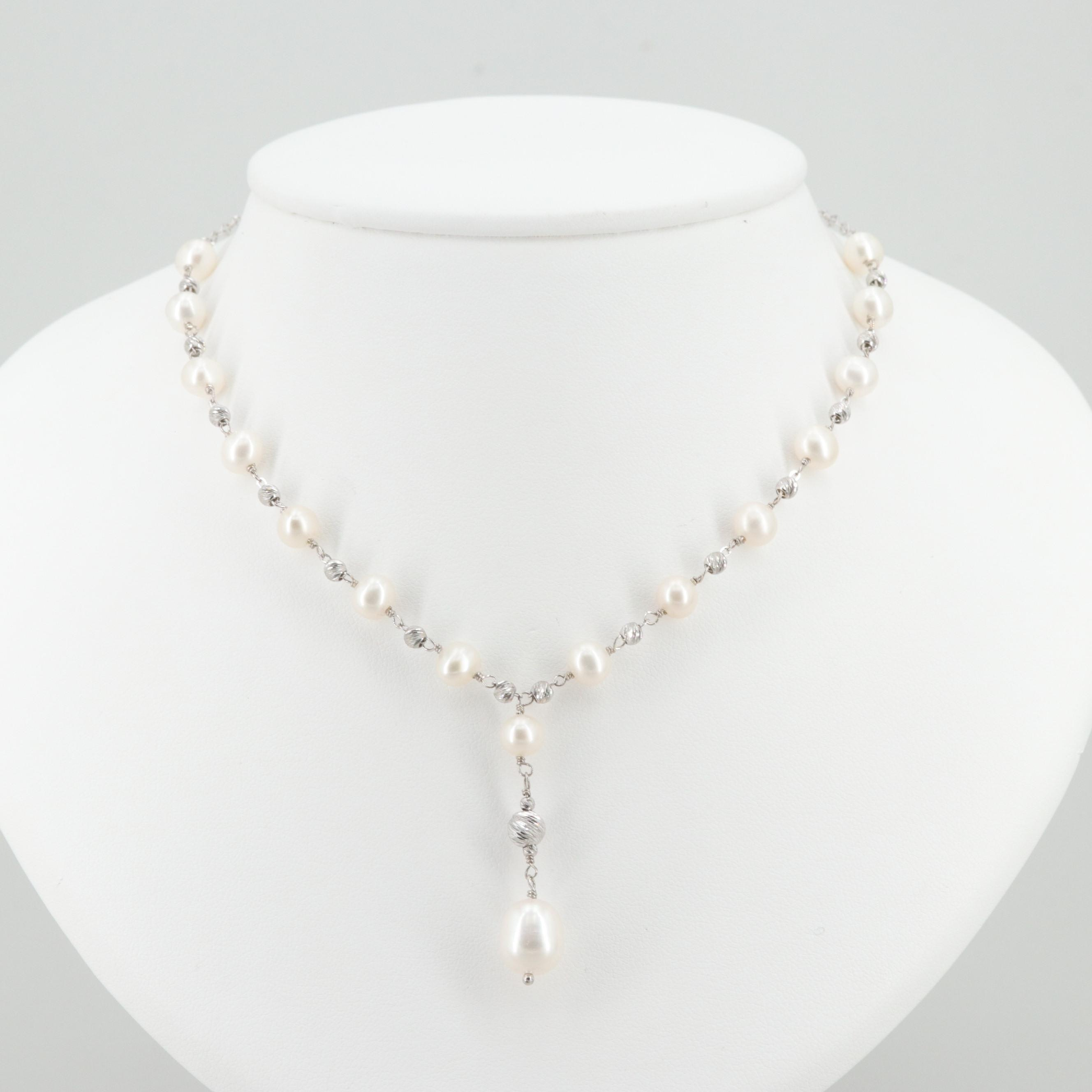 Sterling Silver Necklace and Earrings with Cultured Pearl and Quartz